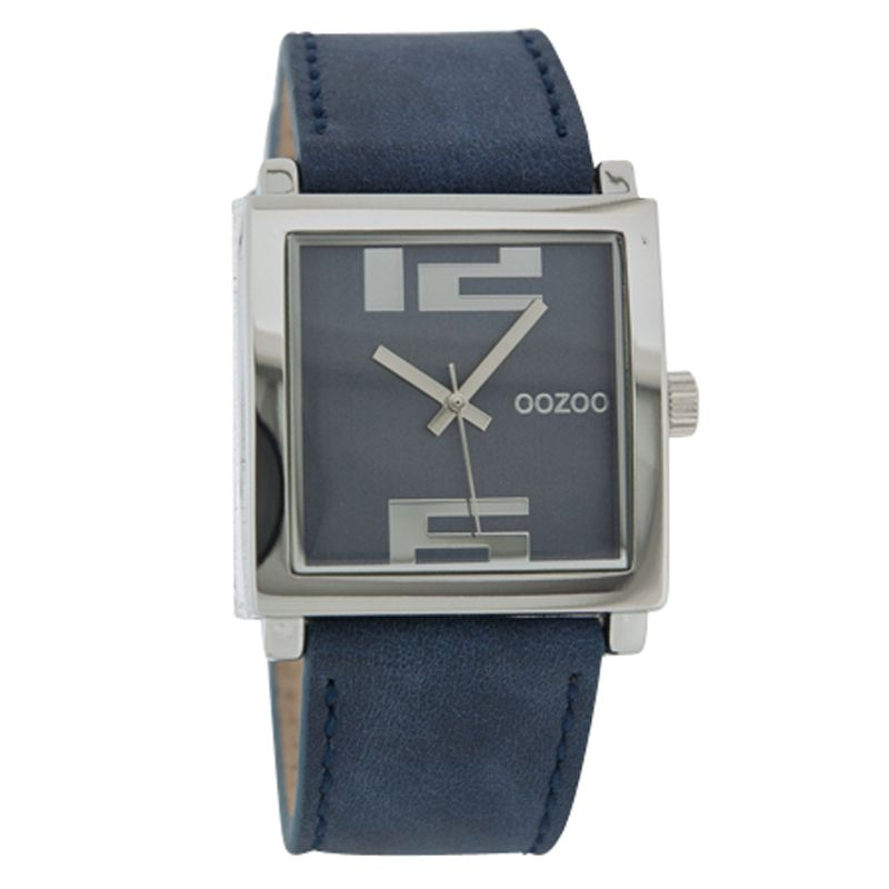 Oozoo C4203 Unisex Blue Square Dial Leather Strap Watch