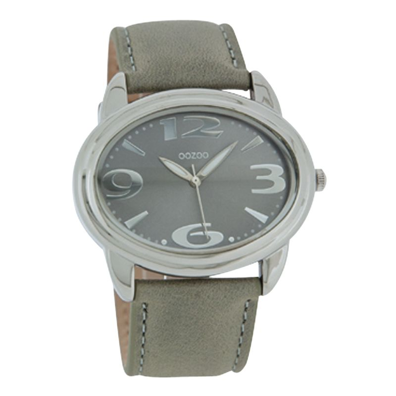 Oozoo C4226 Unisex Khaki Round Leather Strap Watch