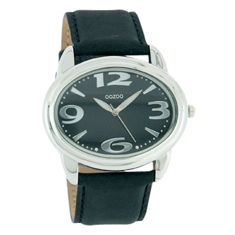 Oozoo C4229 Unisex Black Round Leather Strap Watch