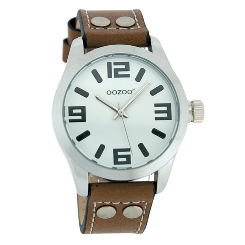Oozoo JR151 Unisex Round Dial Brown Leather Stud Strap Watch