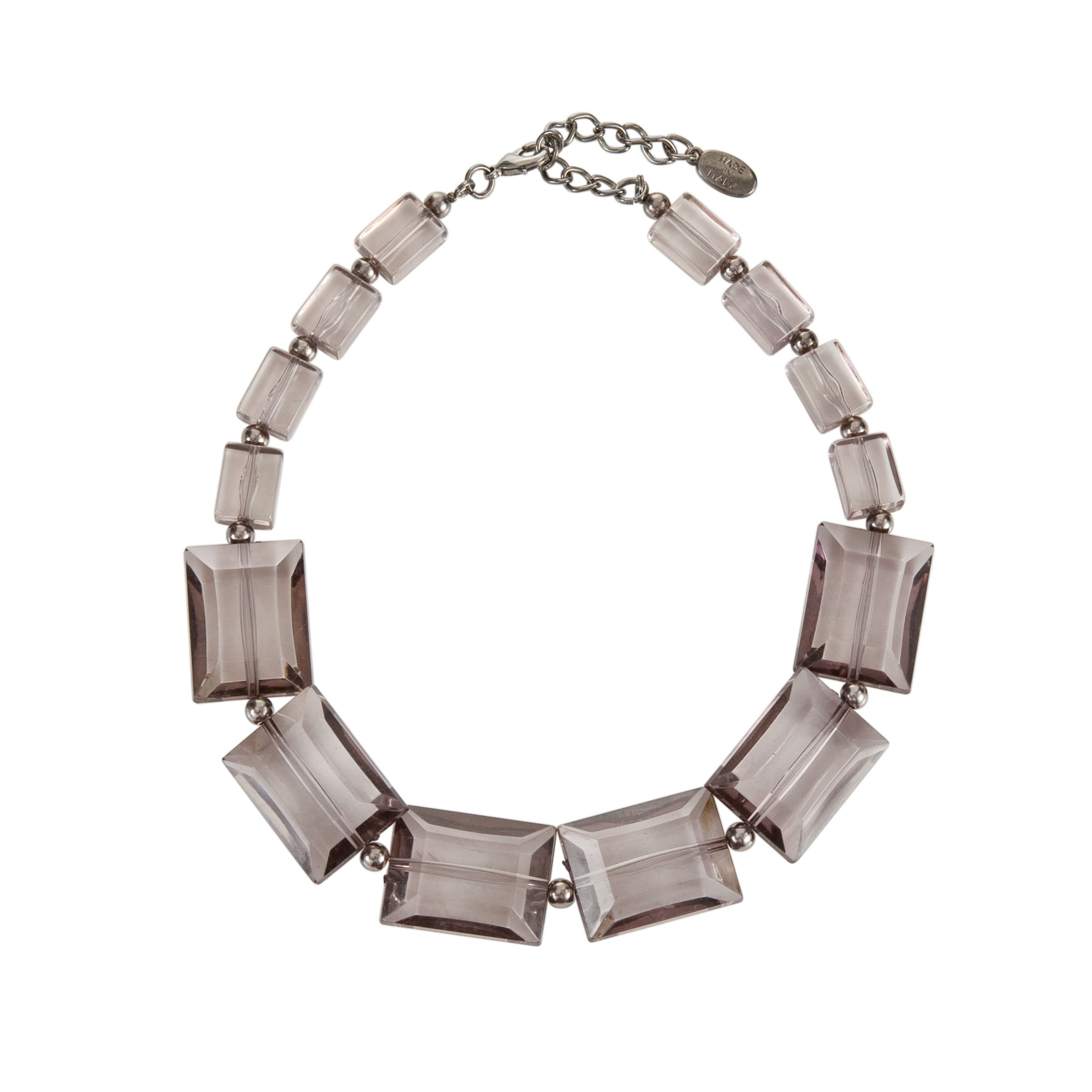 COLLECTION, John Lewis Women Square Facetted Bead Necklace, Smoky Grey