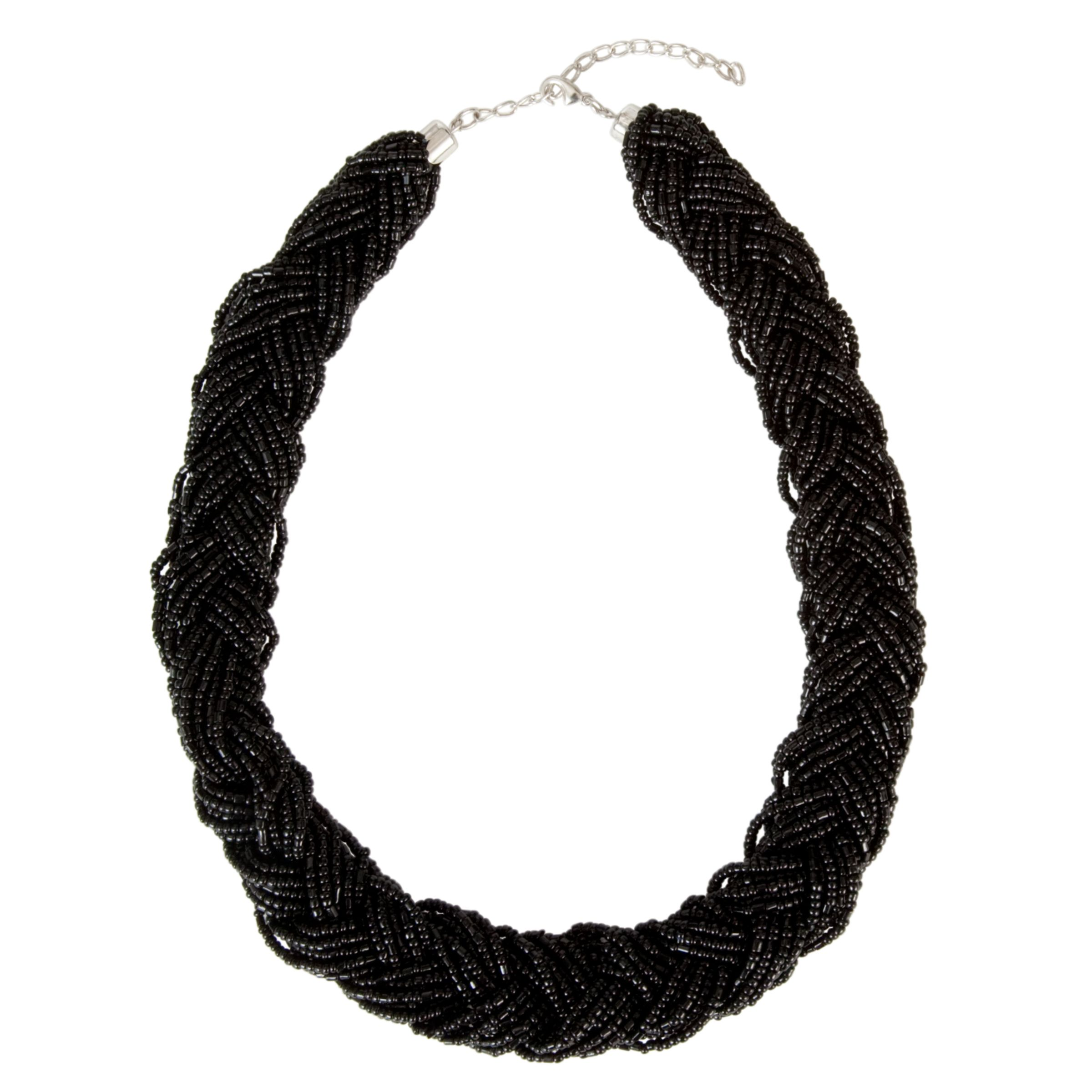 John Lewis Women Plaited Metallic Bugle Bead Necklace, Black