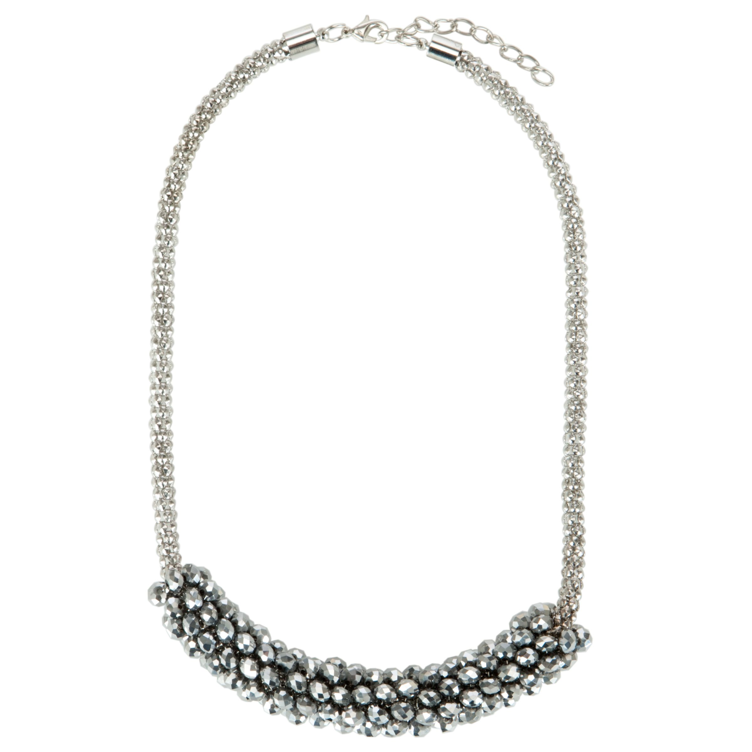 John Lewis Beaded Cluster Short Necklace, Silver