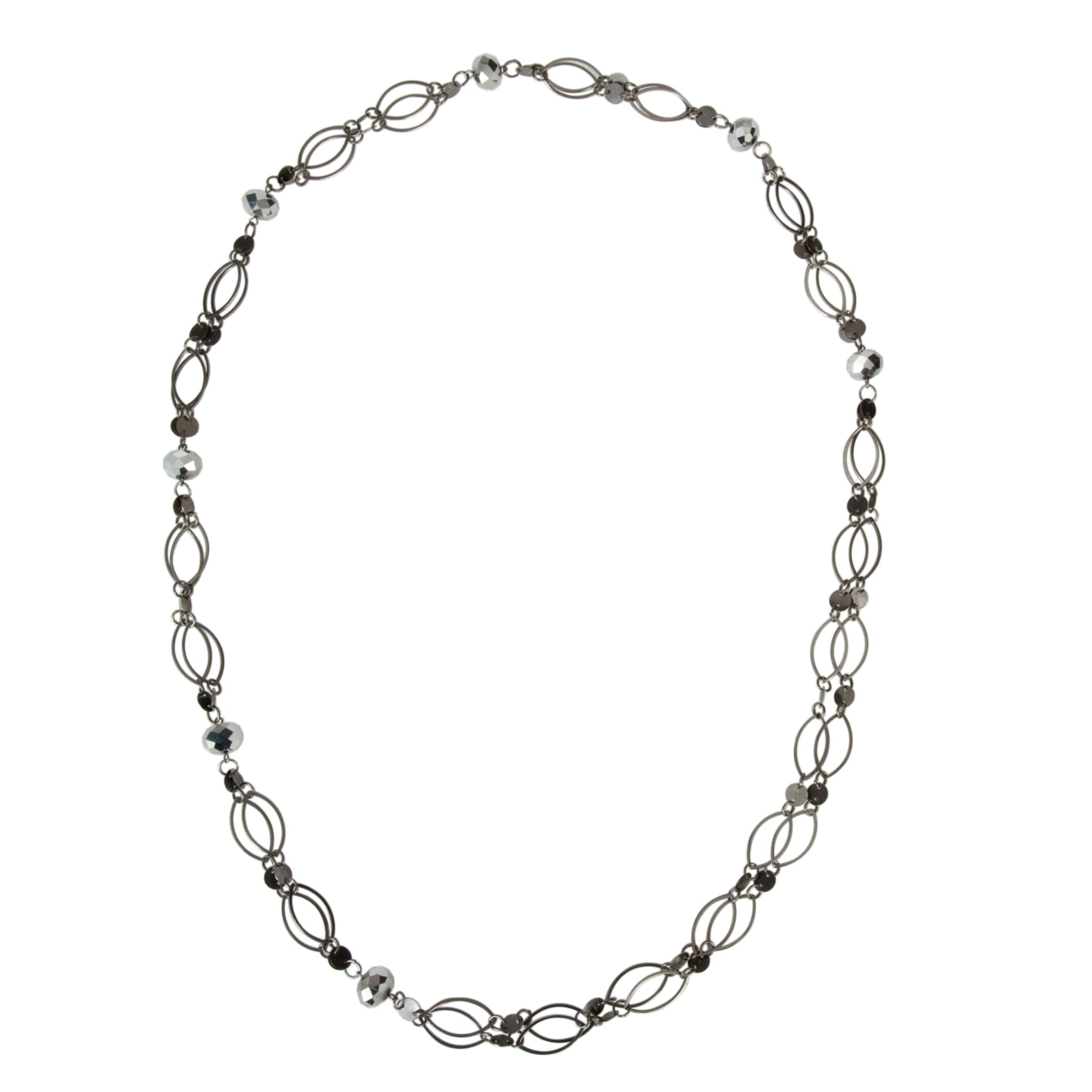 John Lewis Women Hoop Long Necklace, Gunmetal