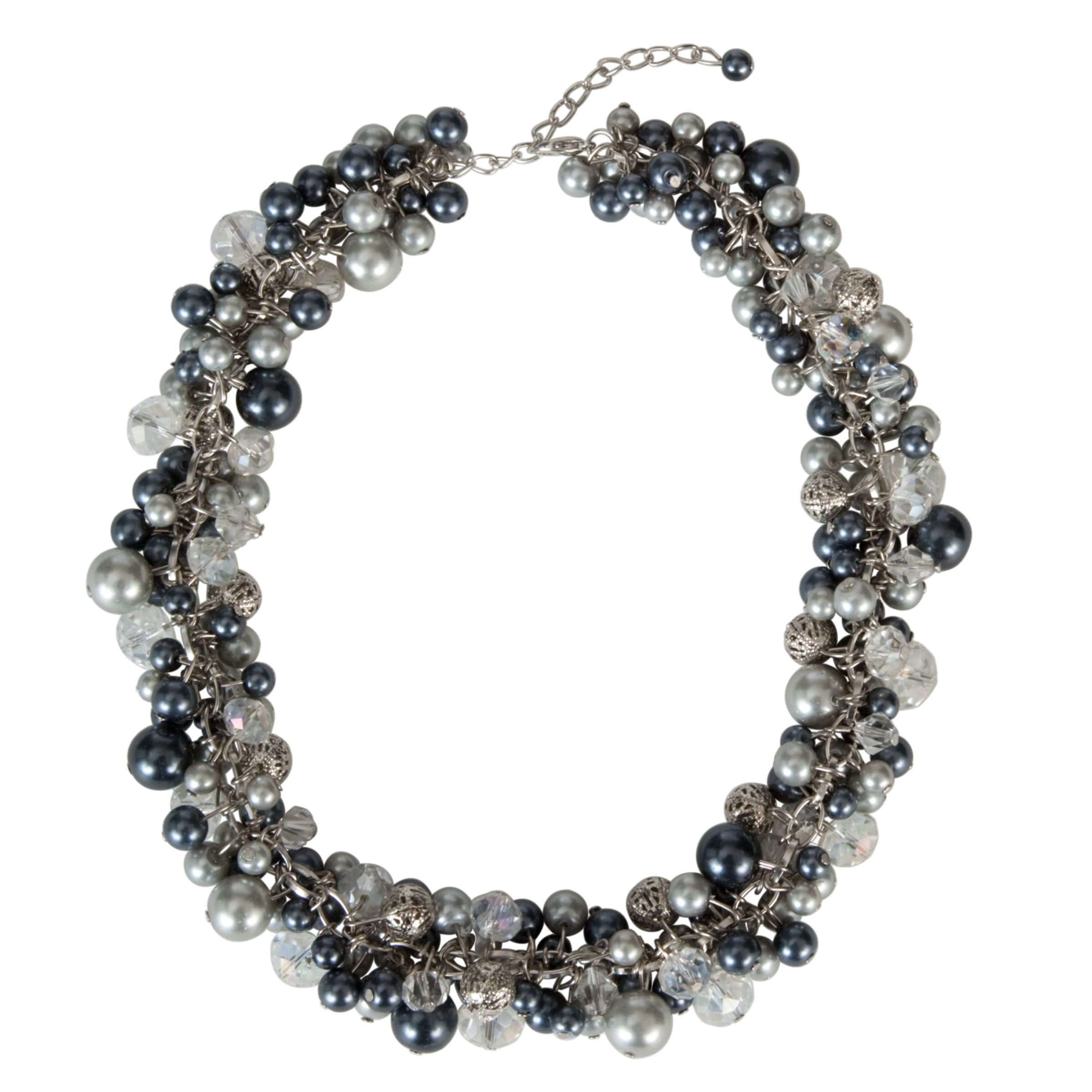 John Lewis Women Pearl Cluster Necklace, Grey