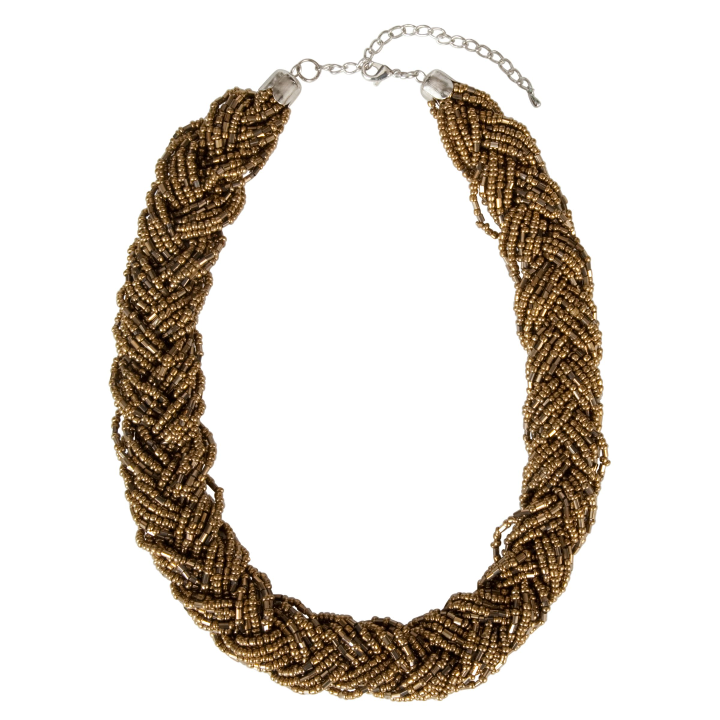 John Lewis Women Plaited Metalic Seed Necklace, Gold