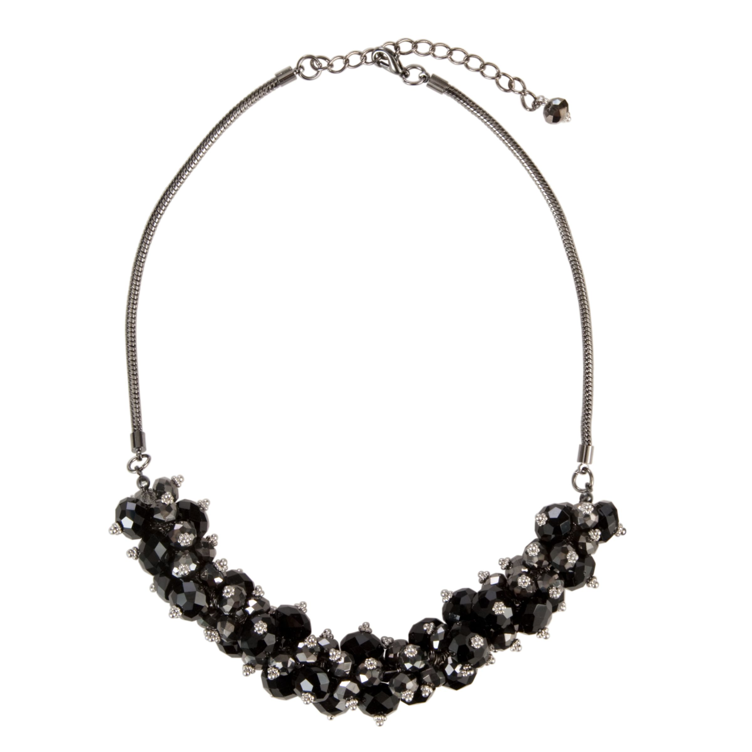 John Lewis Women Jet Bead Cluster Necklace, Black