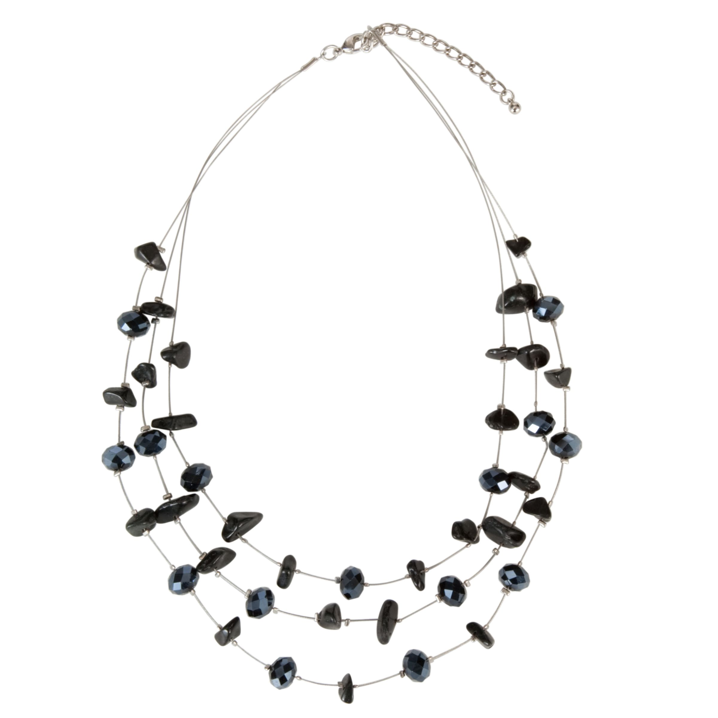 John Lewis Women Faceted Bead Necklace, Jet