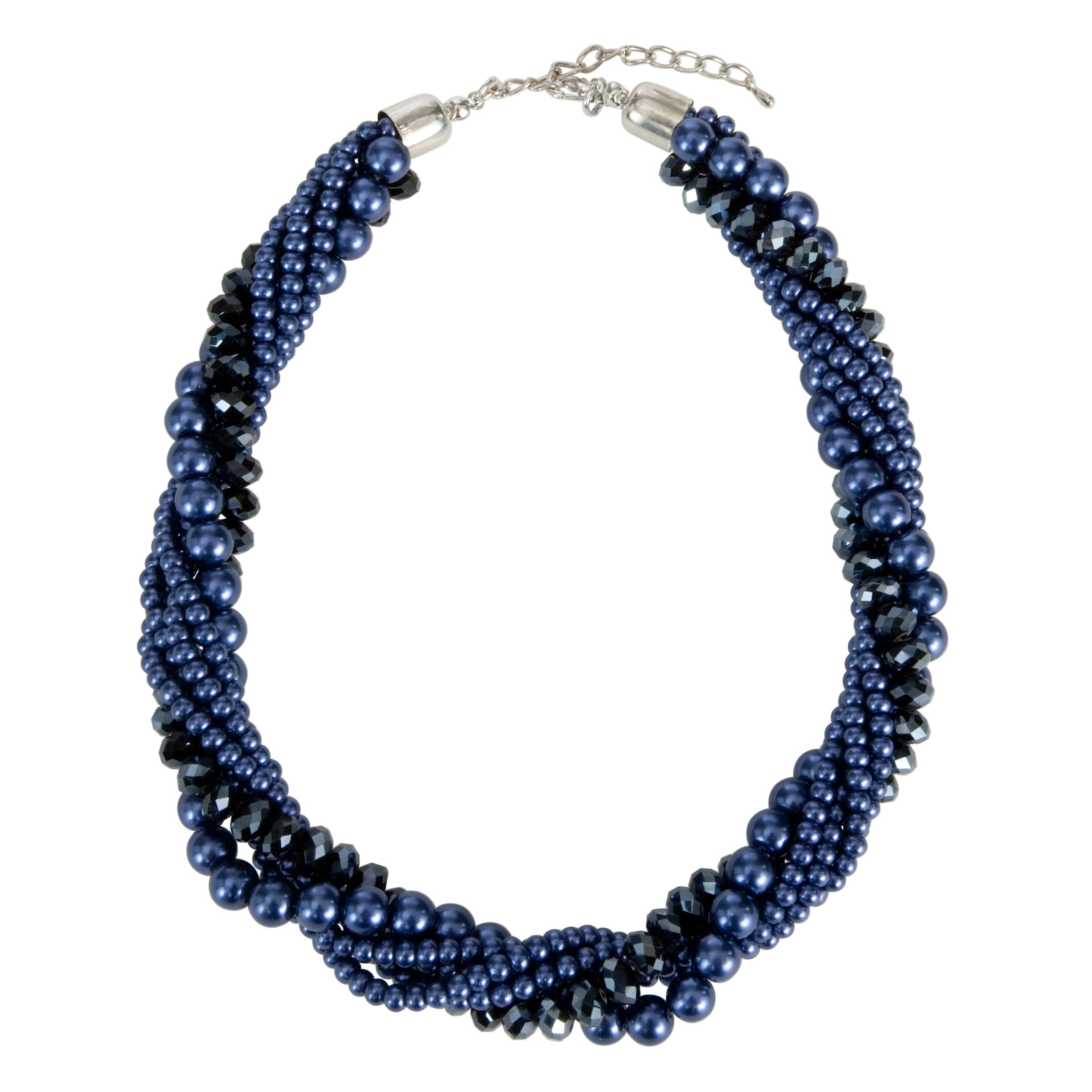 John Lewis Women Pearl Twist Necklace, Navy