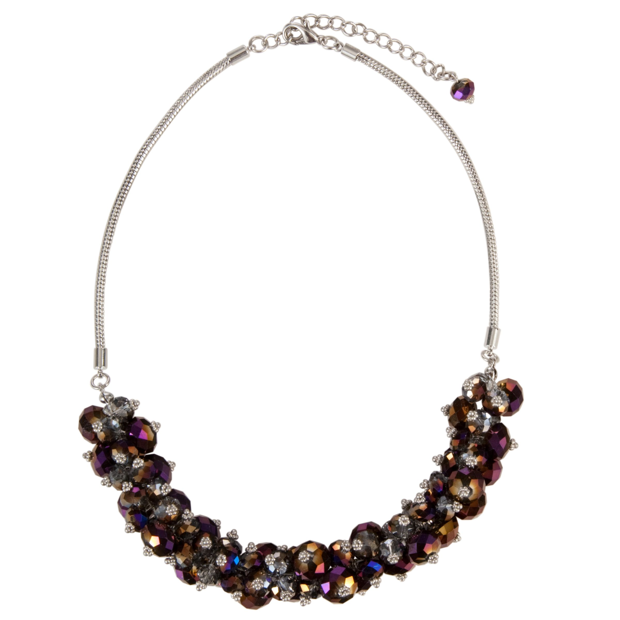 John Lewis Women Faceted Bead Cluster Necklace, Purple