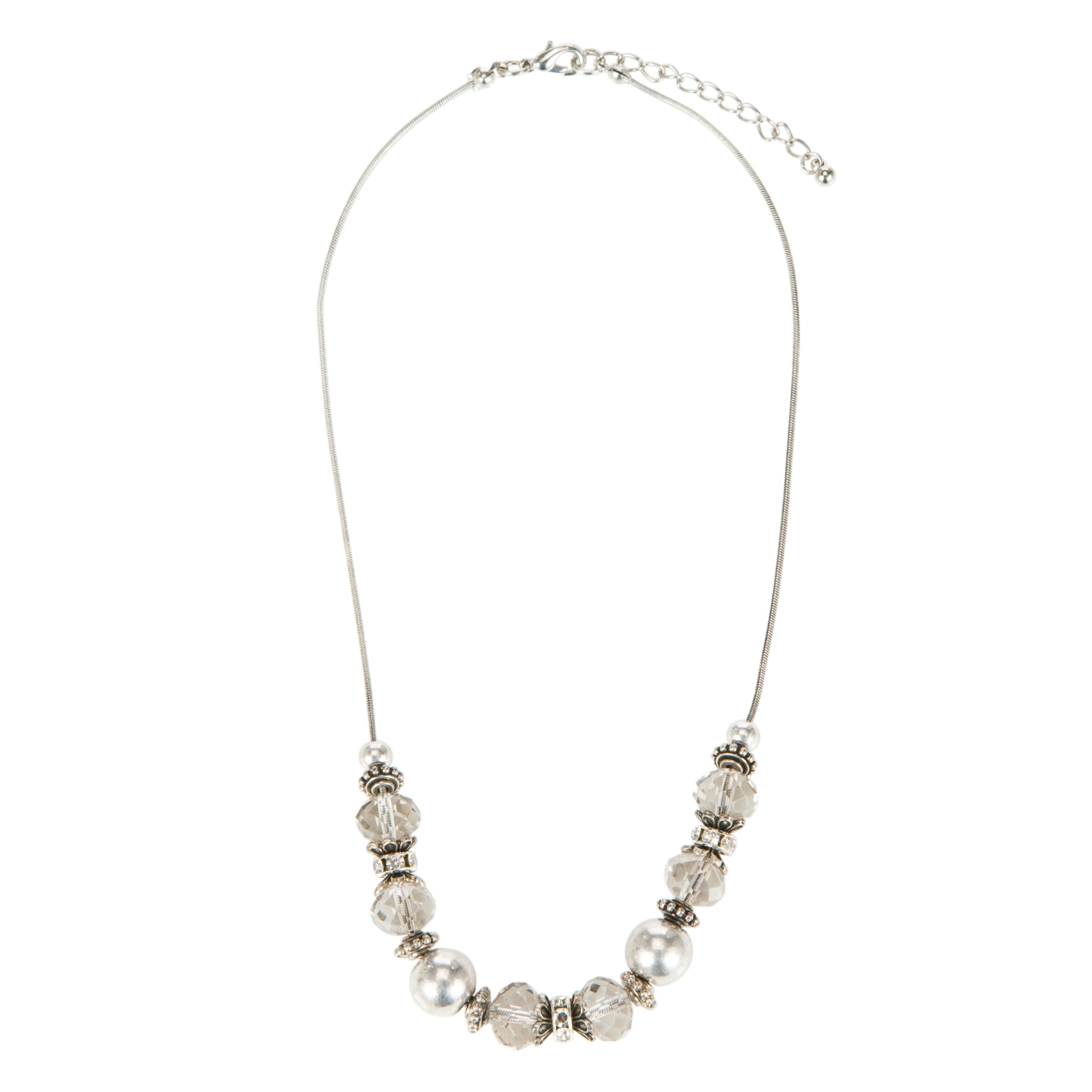 John Lewis Women Faceted Bead Rondell Necklace, Smokey