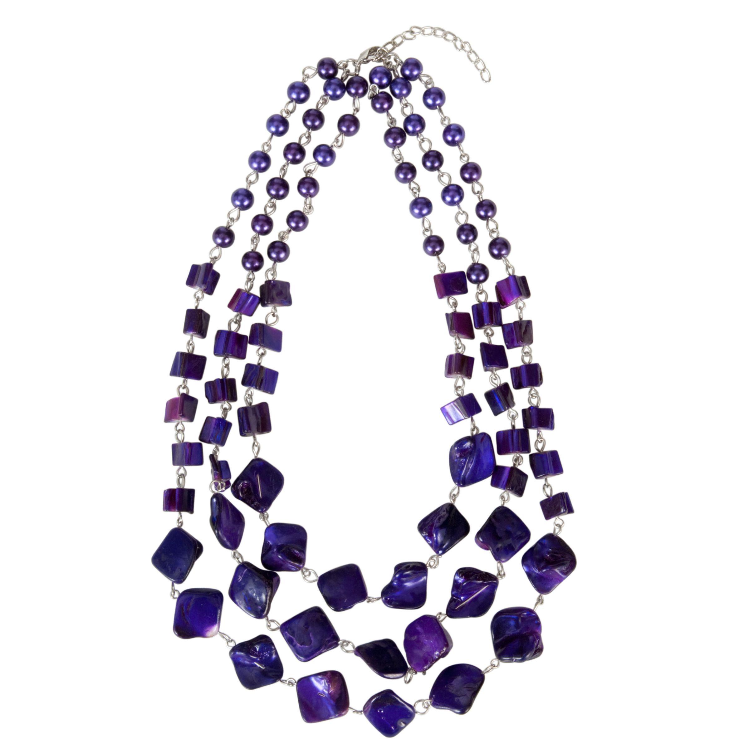 John Lewis Women Three Row Shell Necklace, Purple