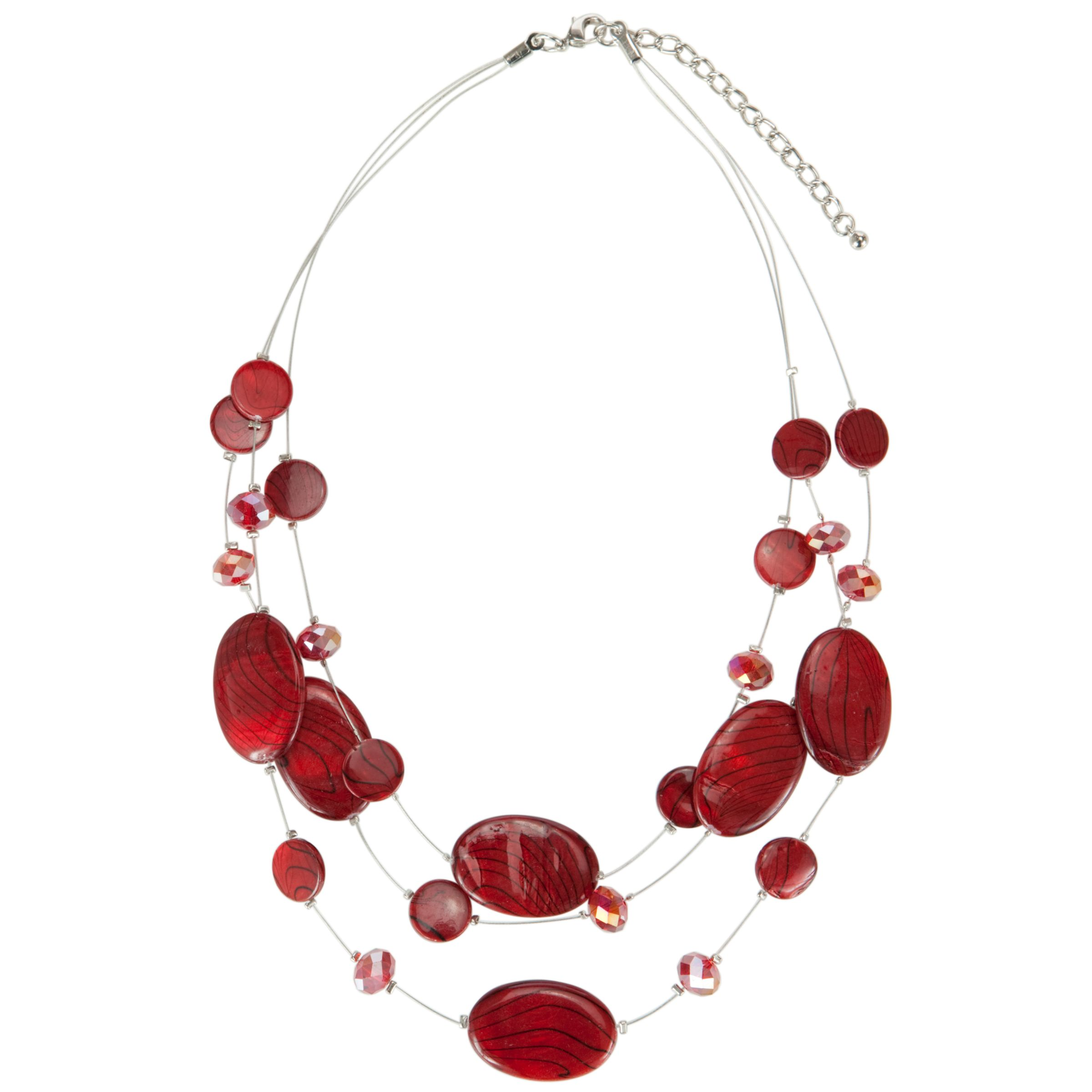 John Lewis 3 Strand Illusion Crystal Necklace, Red