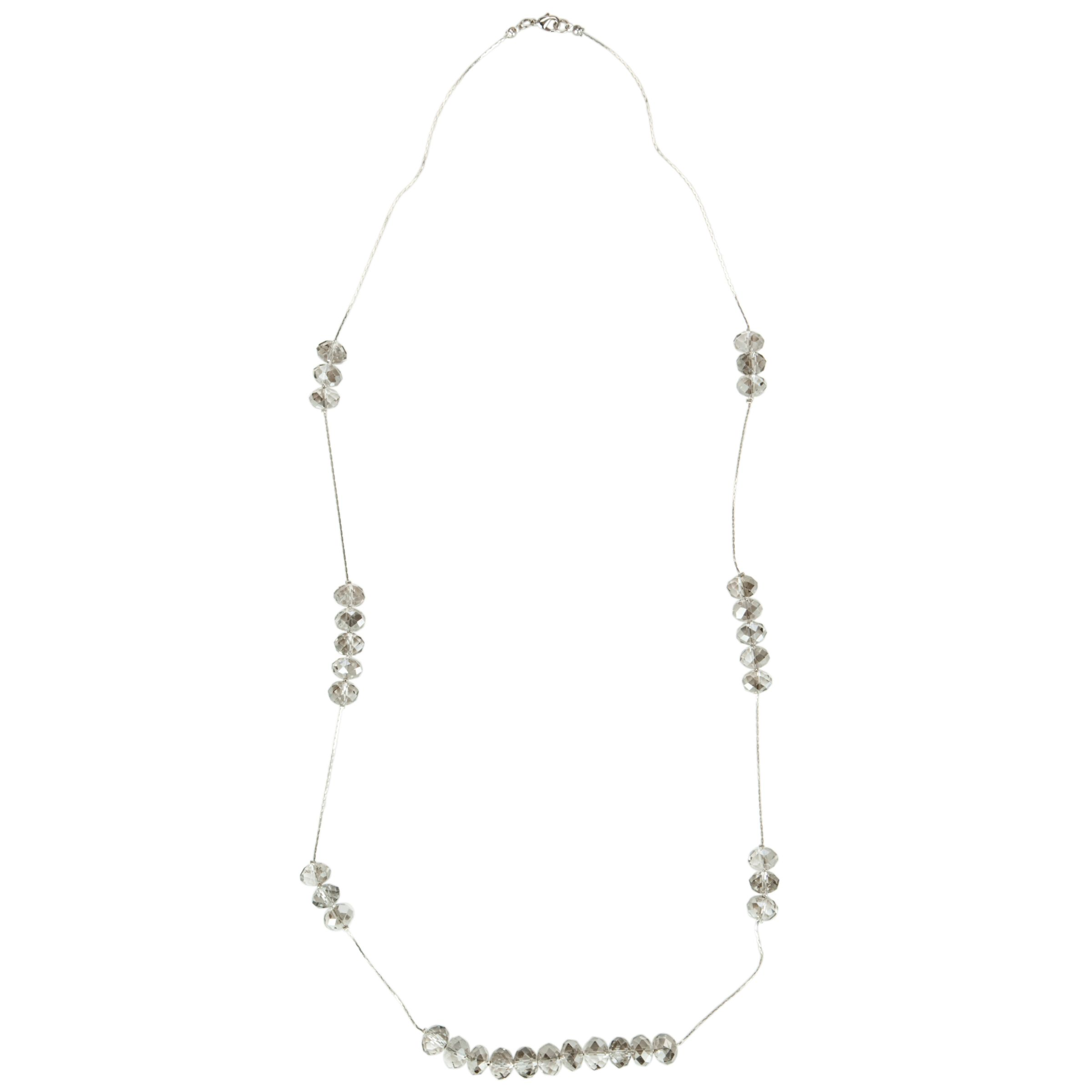 John Lewis Women Multifaceted Bead Cluster Necklace, Silver