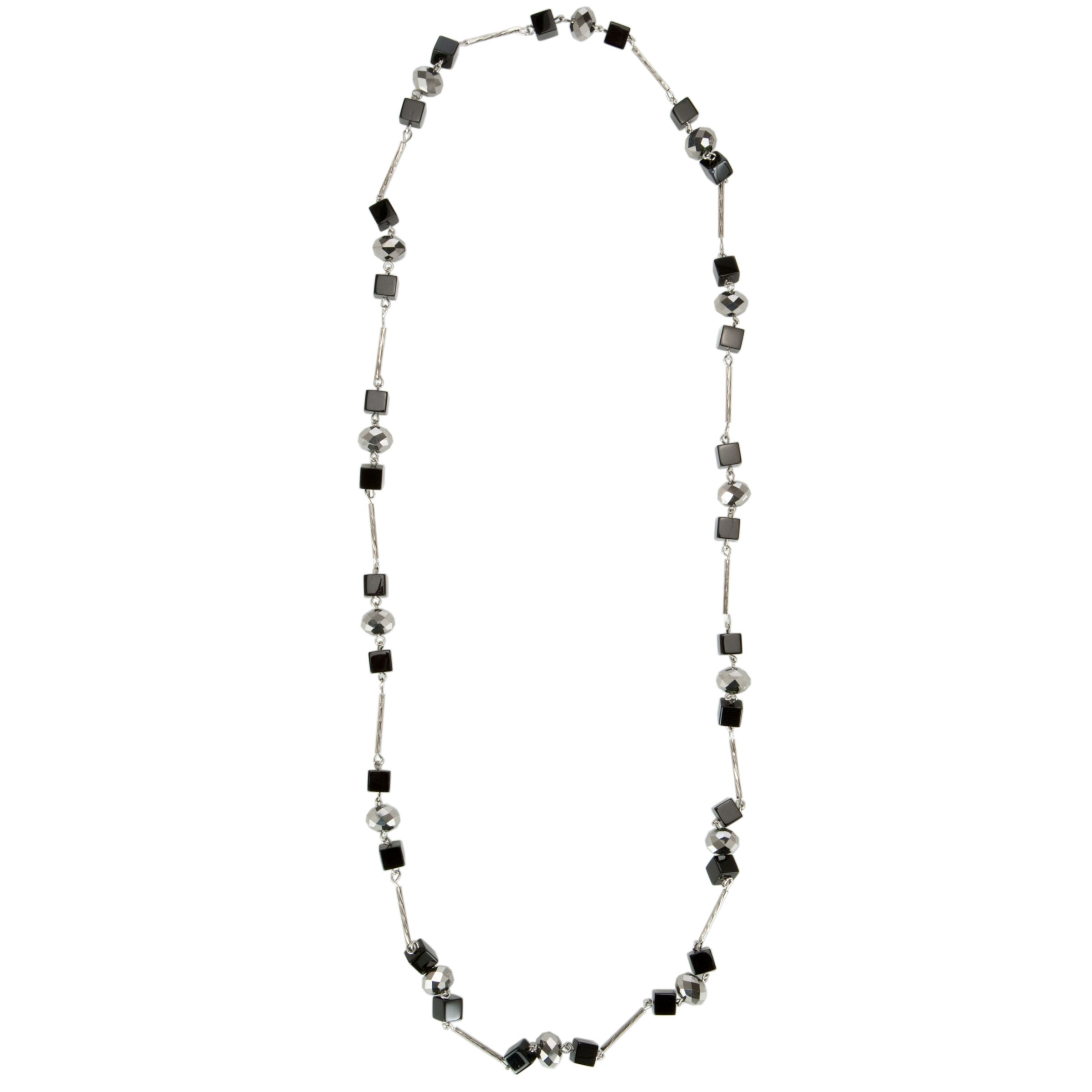 John Lewis Women Cabaret Sparkle Long Necklace, Black/Silver