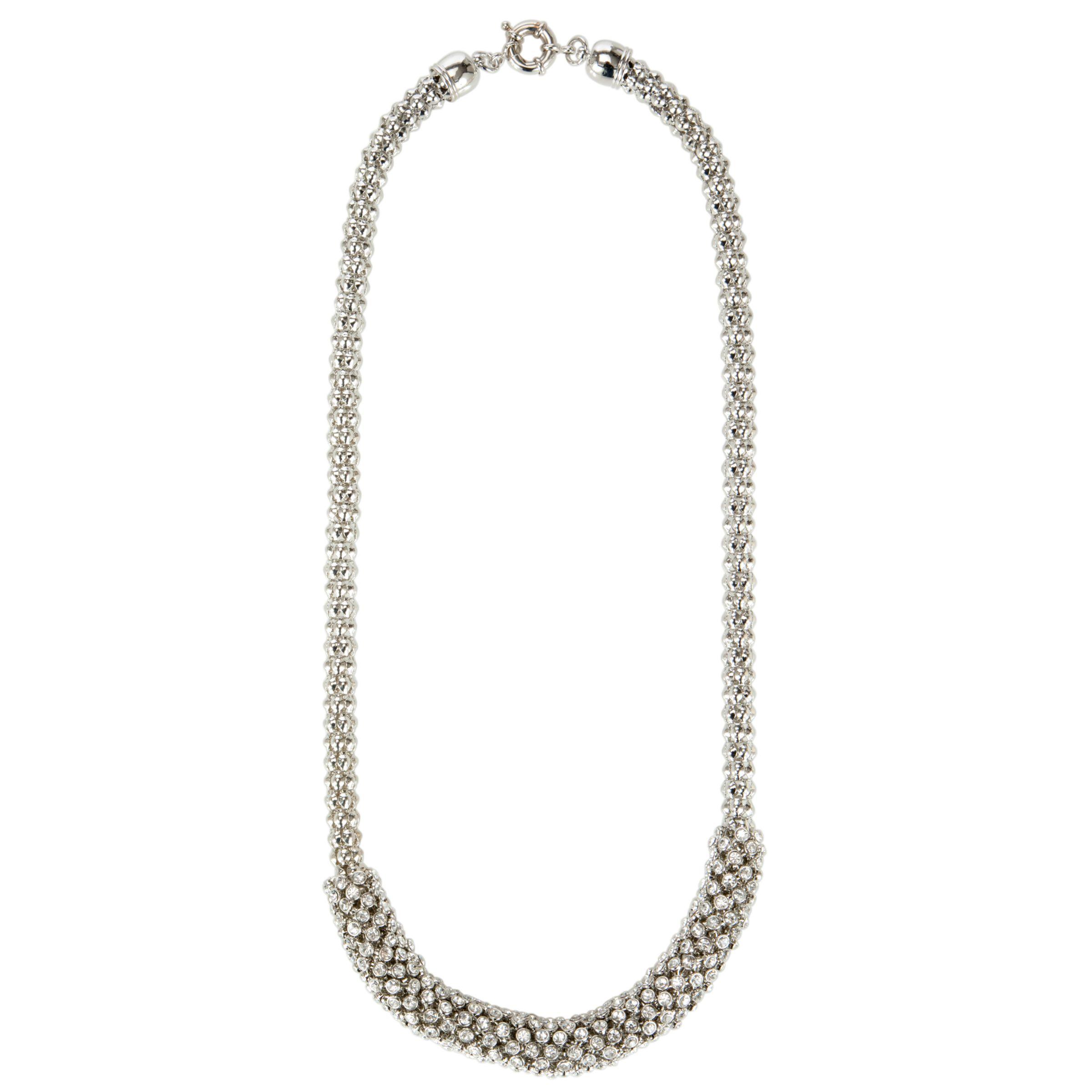 John Lewis Snake Chain Diamante Large Necklace, Silver