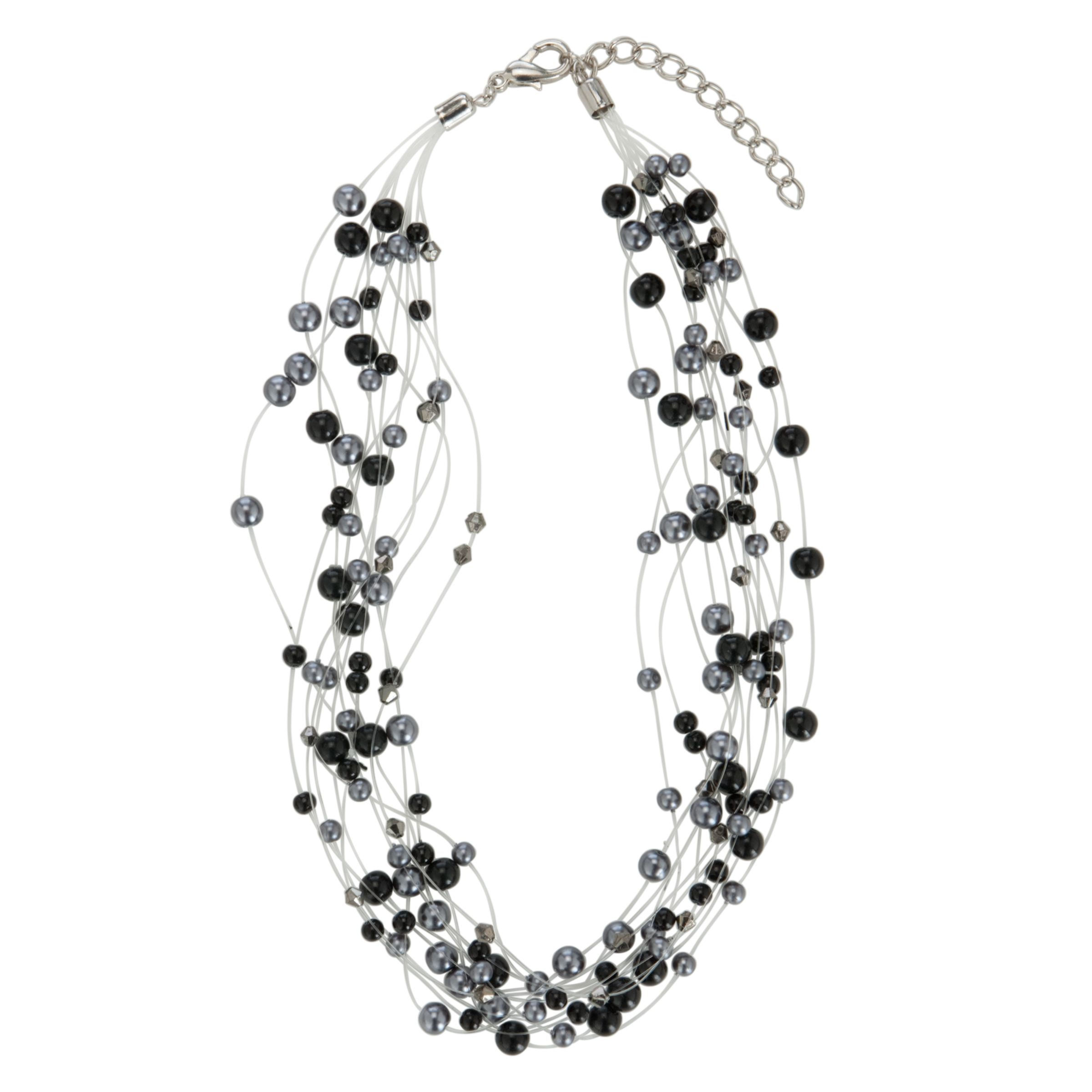 John Lewis Women Illusion Hermatite Pearls Necklace, Black
