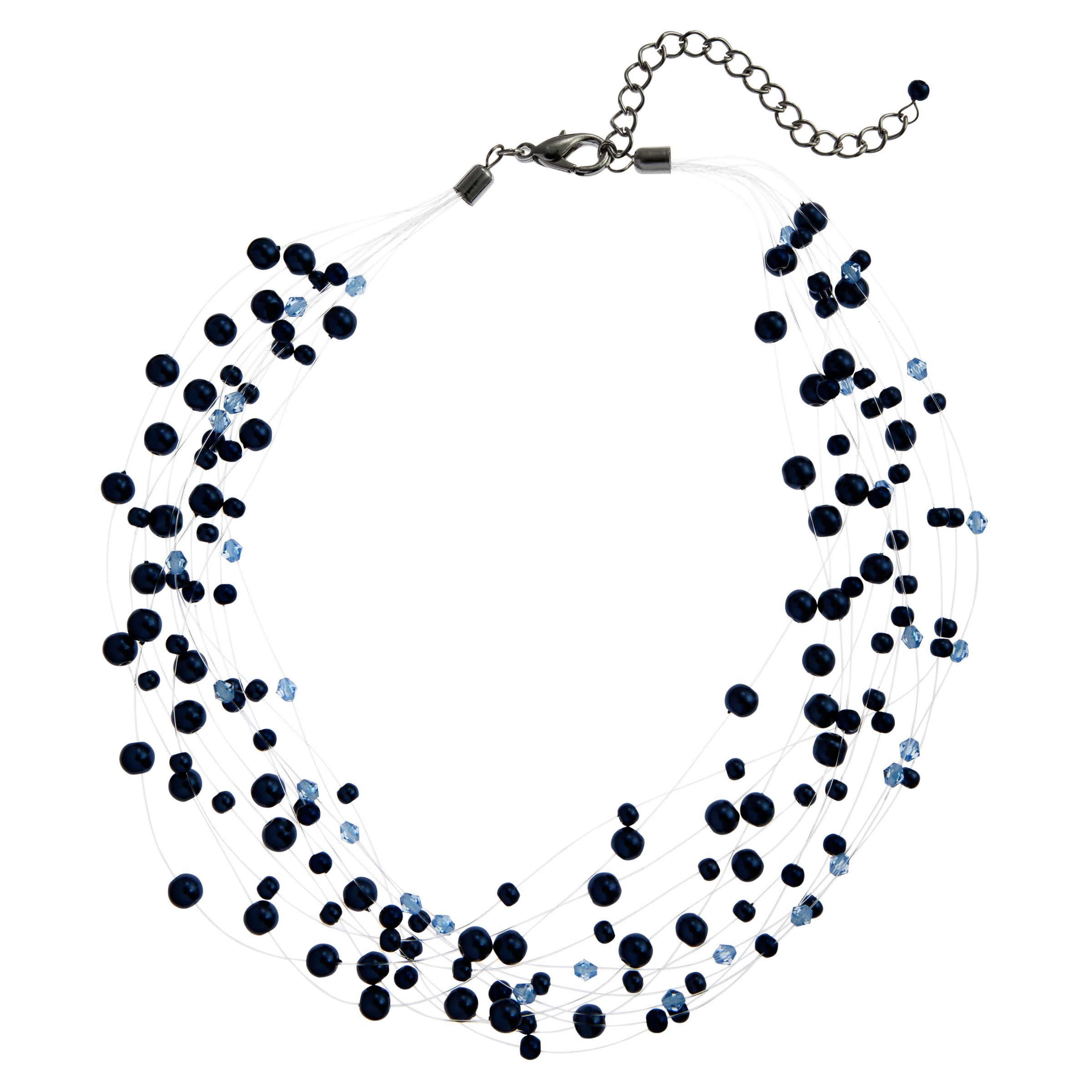 John Lewis Women Illusion Pearl Necklace, Blue