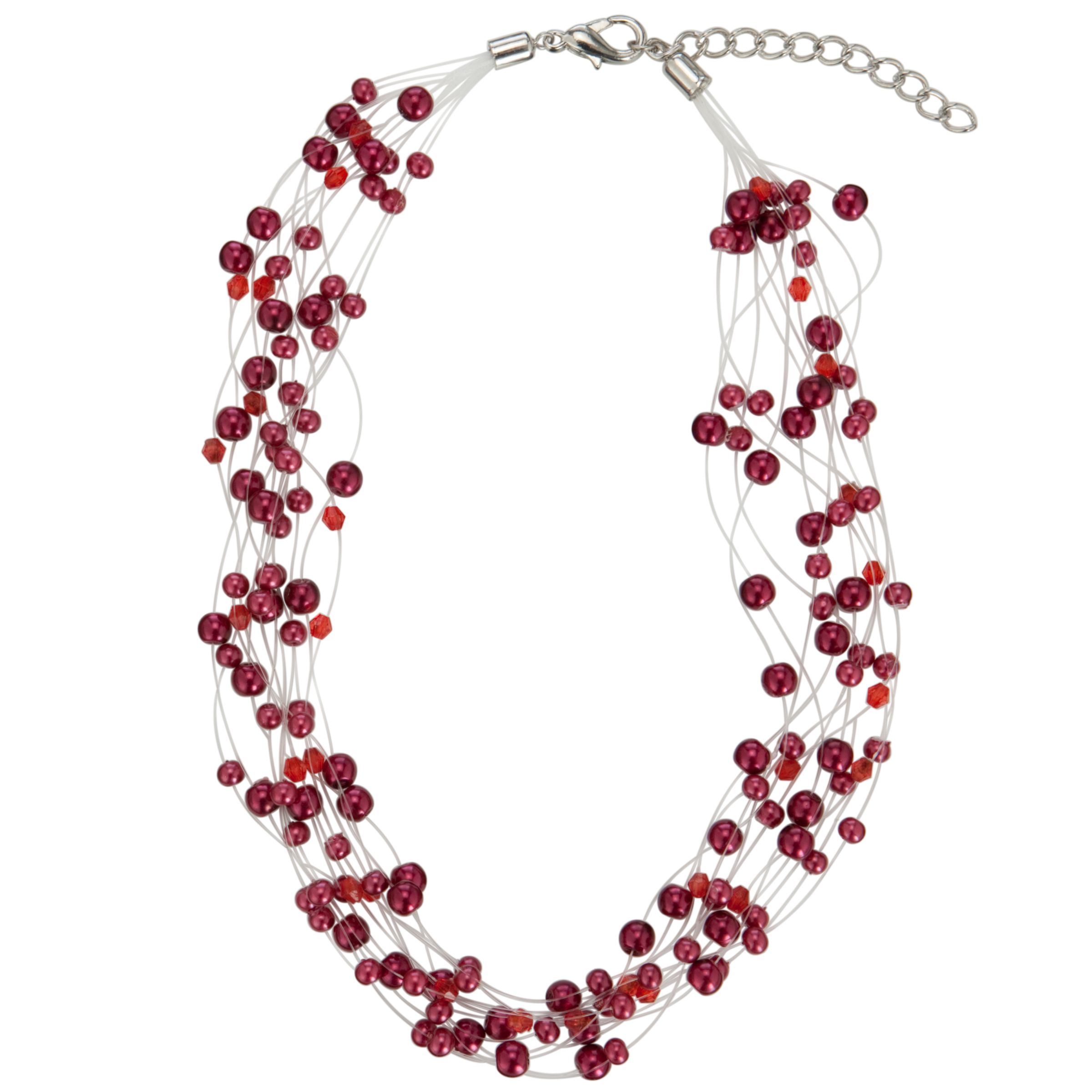 John Lewis Women Illusion Pearl Necklace, Red