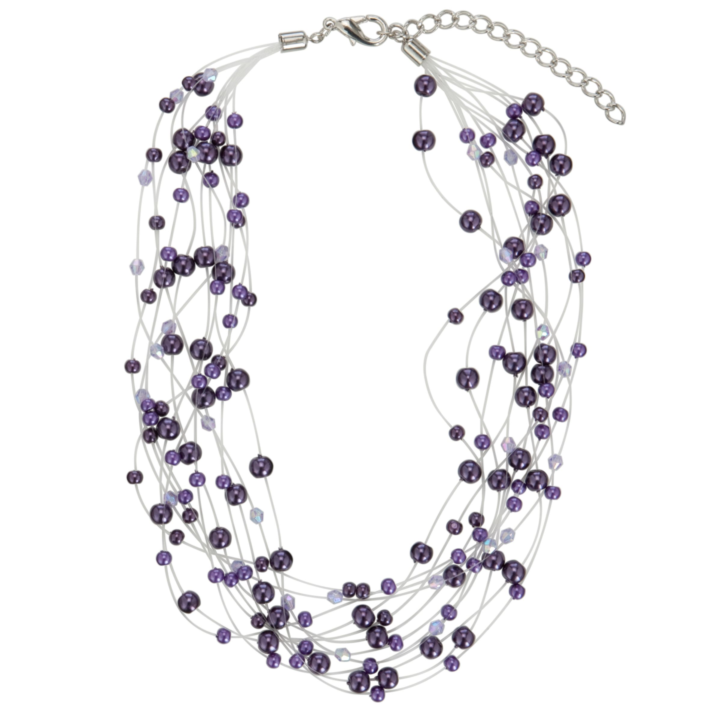John Lewis Women Illusion Pearl Necklace, Purple