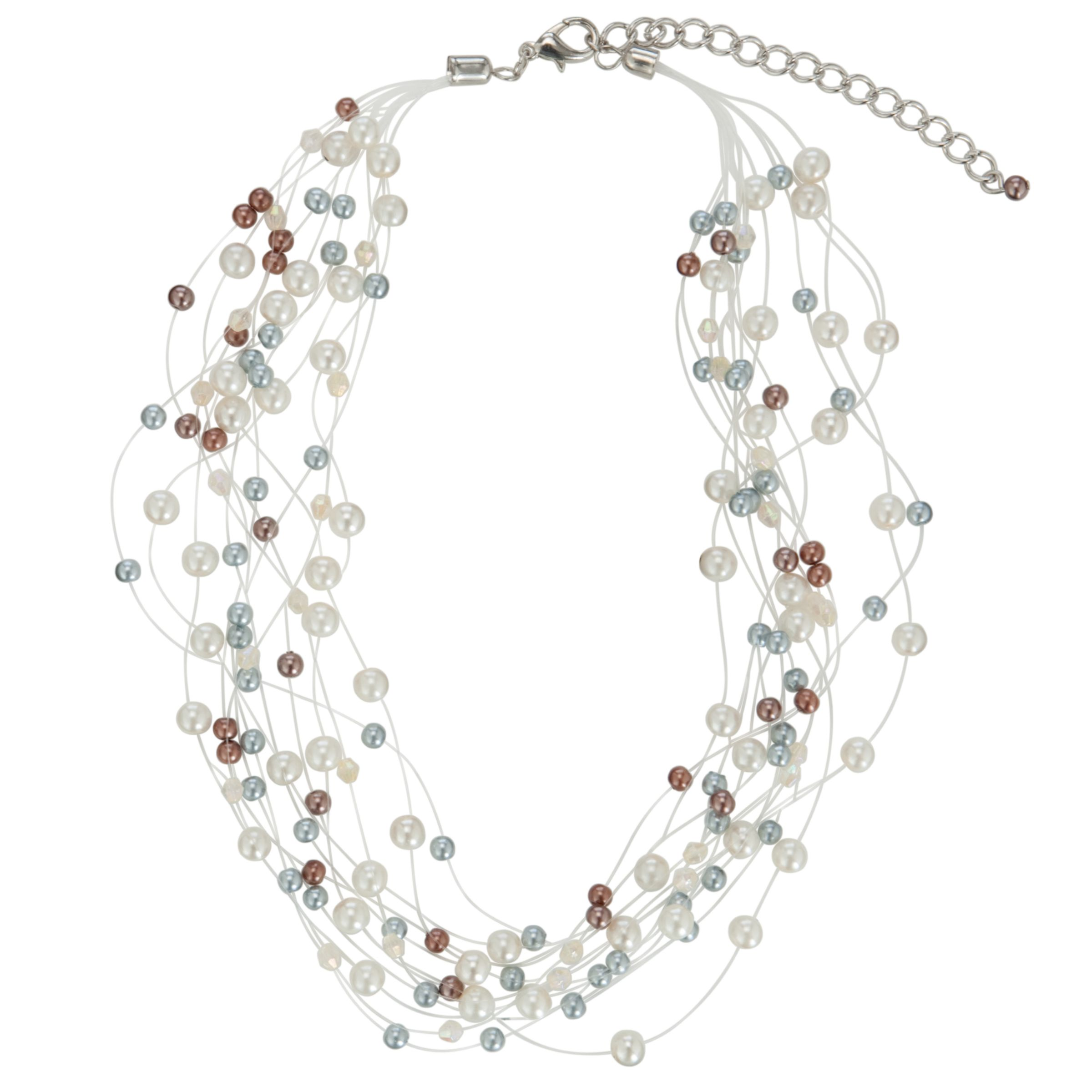 John Lewis Women Illusion Hermatite Pearls Necklace, Vanilla