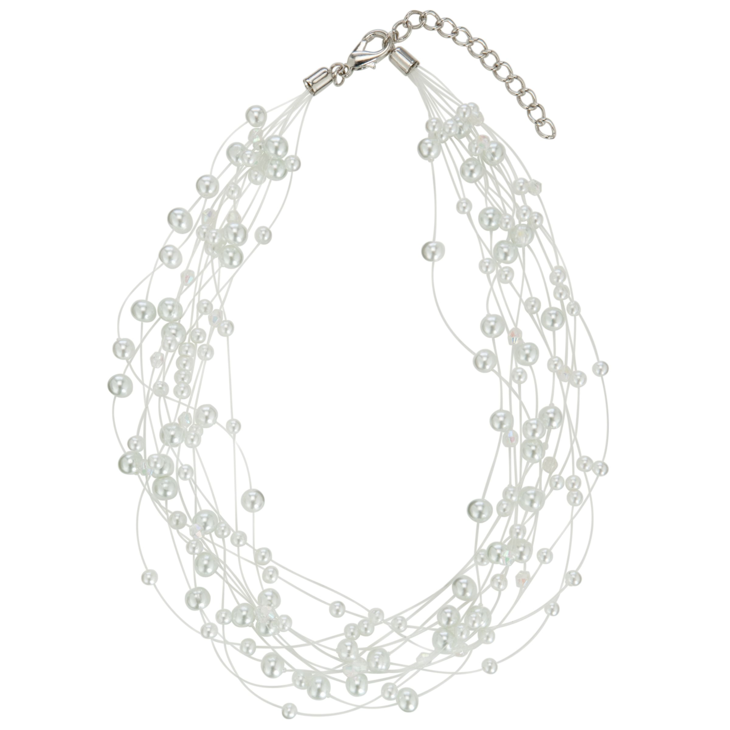 John Lewis Women Illusion Hermatite Pearls Necklace, White