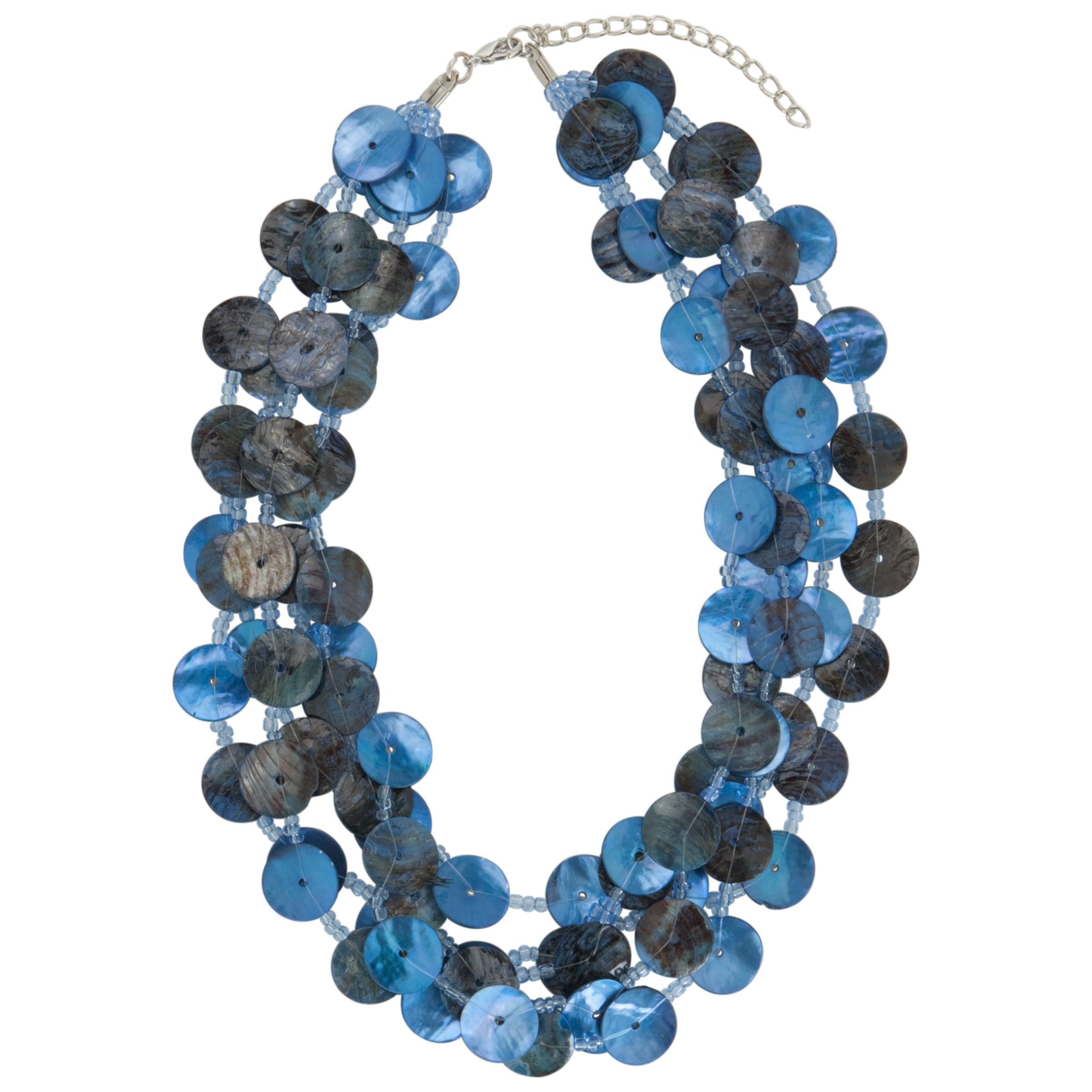 John Lewis Women Five Row Button Necklace, Blue