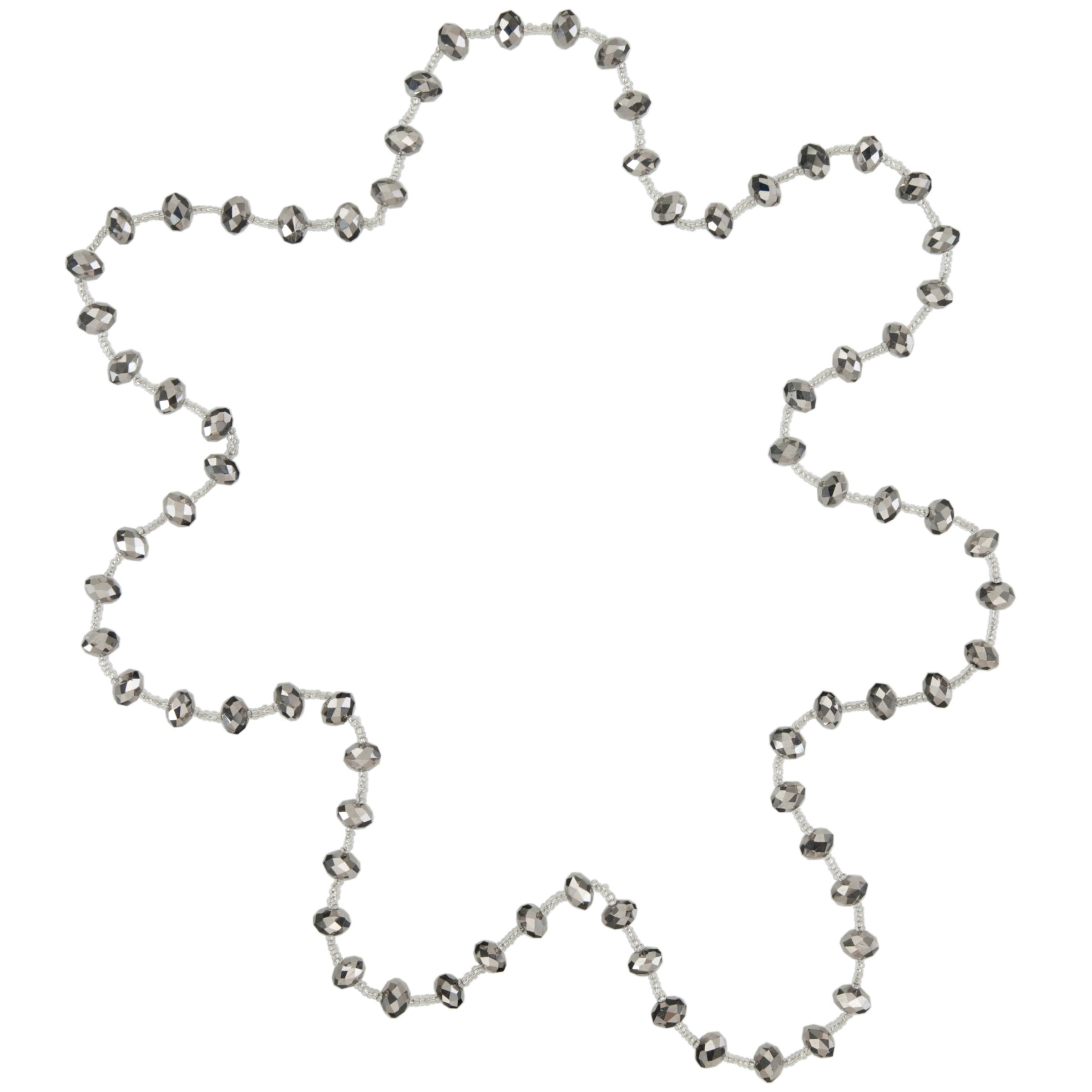 John Lewis Core Silver Beaded Long Necklace