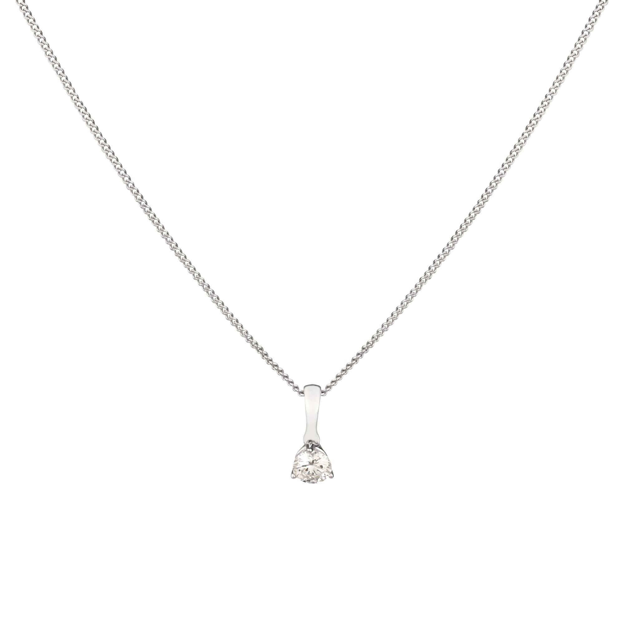 Dinny Hall 18k White Gold Diamond Solitaire Pendant Necklace