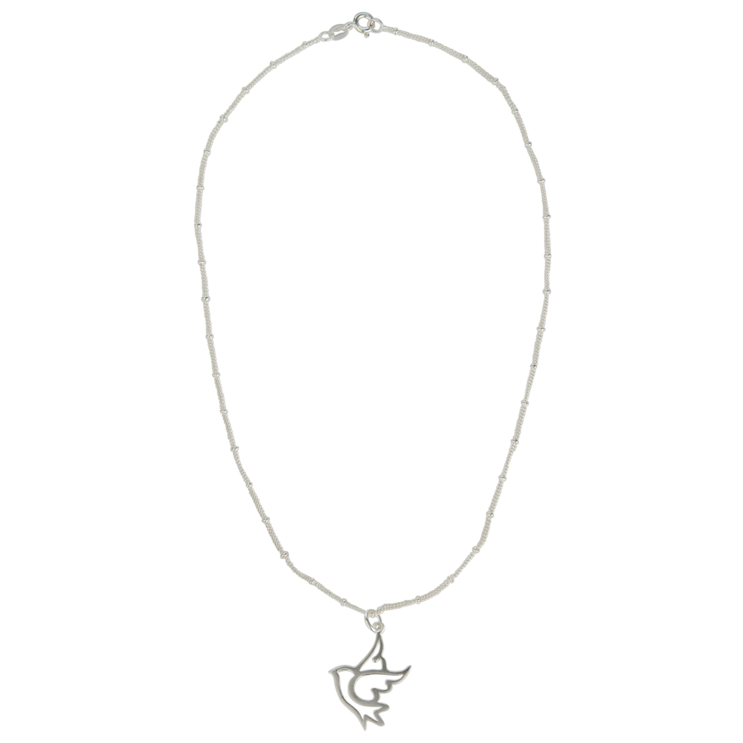 Martick Dove Pendant Necklace, Silver