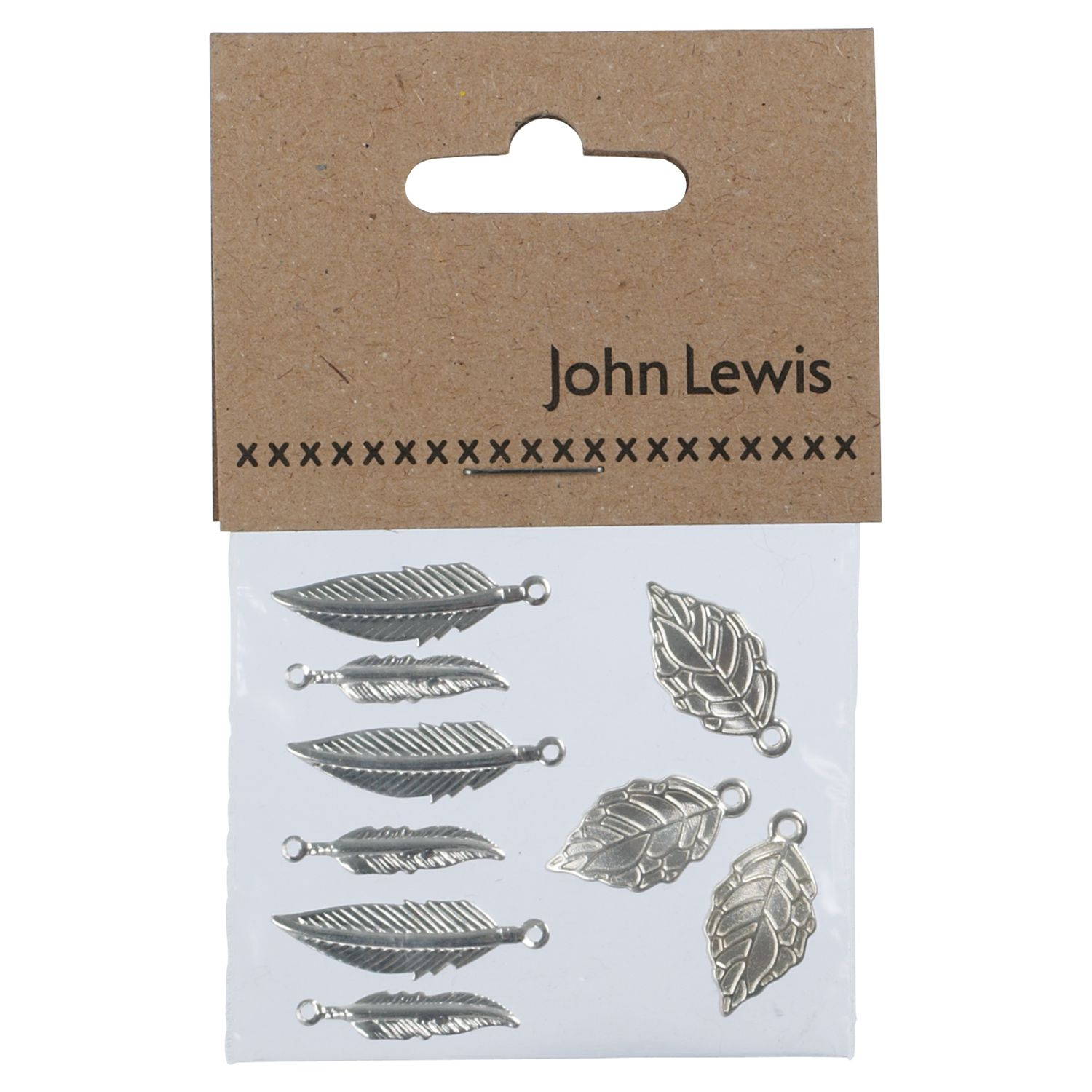 John Lewis Feather and Leaf Charms, Pack of 6, Silver Plated