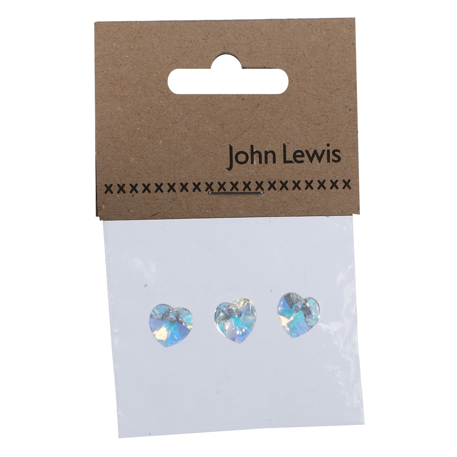 John Lewis Swarovski 10mm Heart Crystals, Pack of 3, Crystal AB
