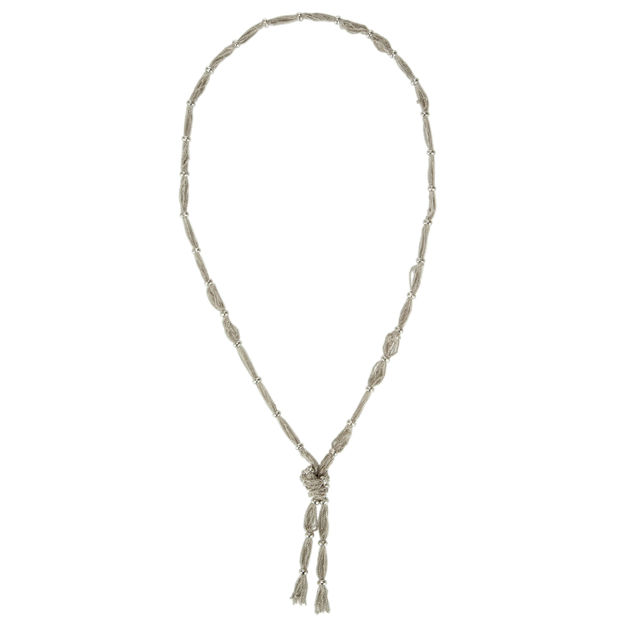 John Lewis Long Multi Chain Knot Necklace, Silver