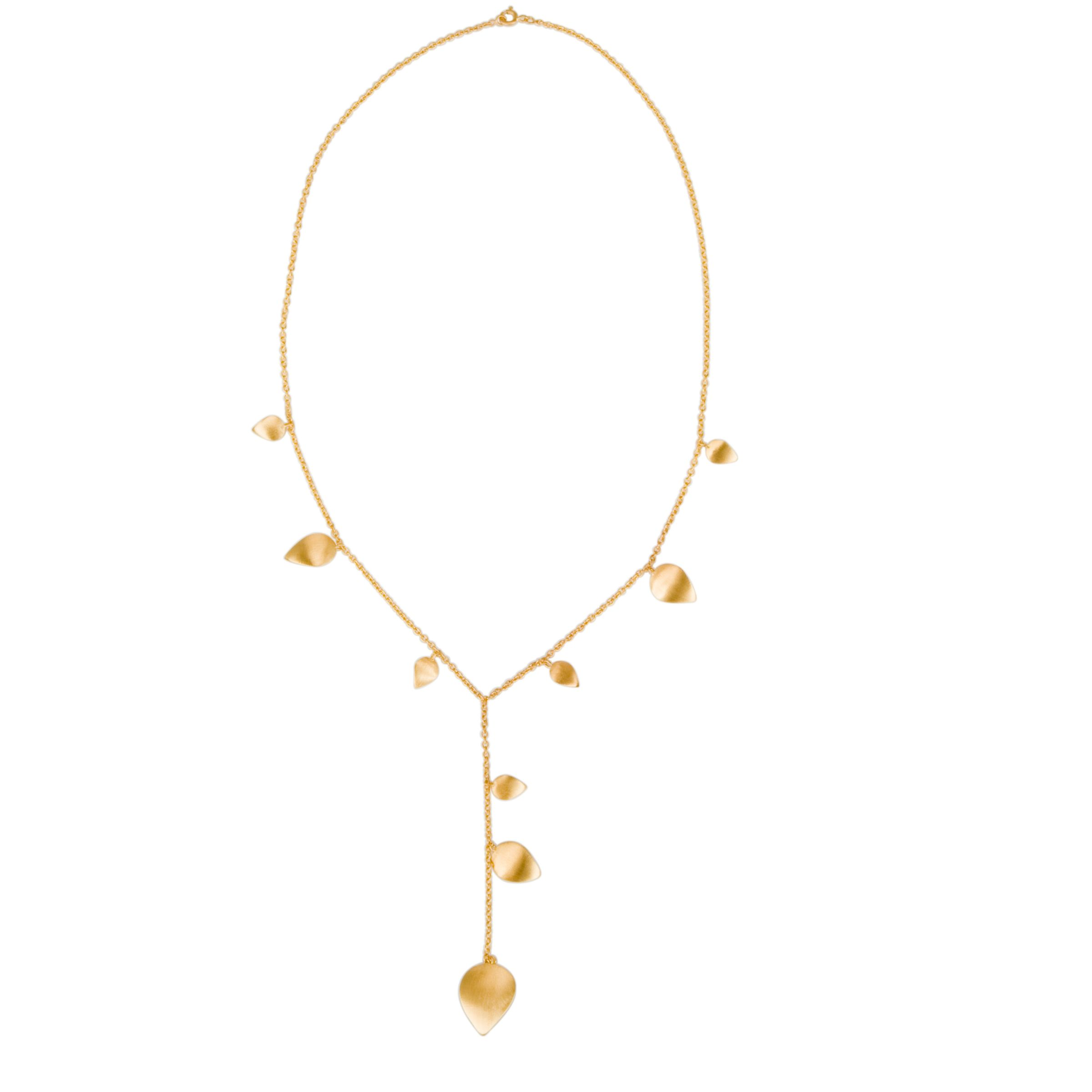 Pomegranate Gold Vermeil Y Collar Leaf Necklace