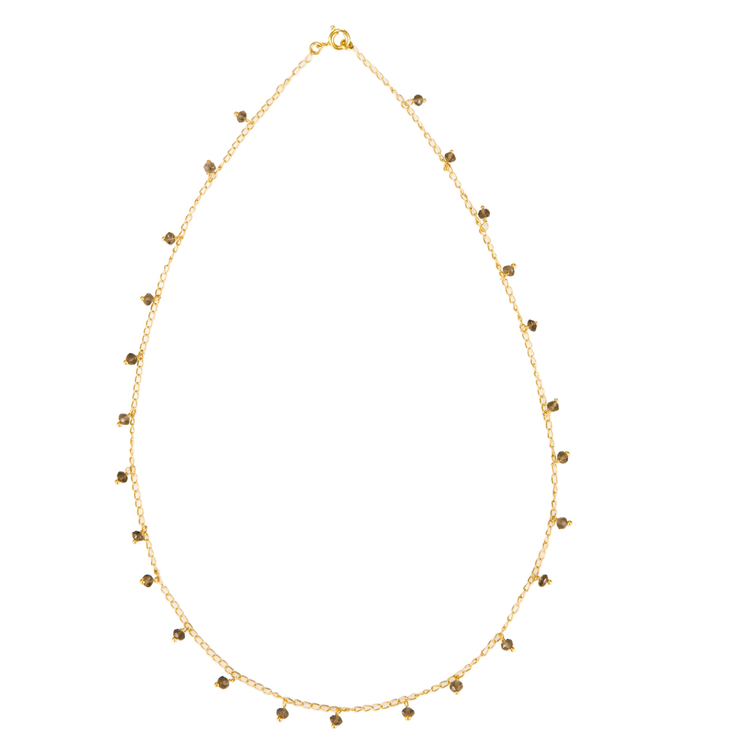 Pomegranate Gold Vermeil Quartz Chain Necklace, Grey