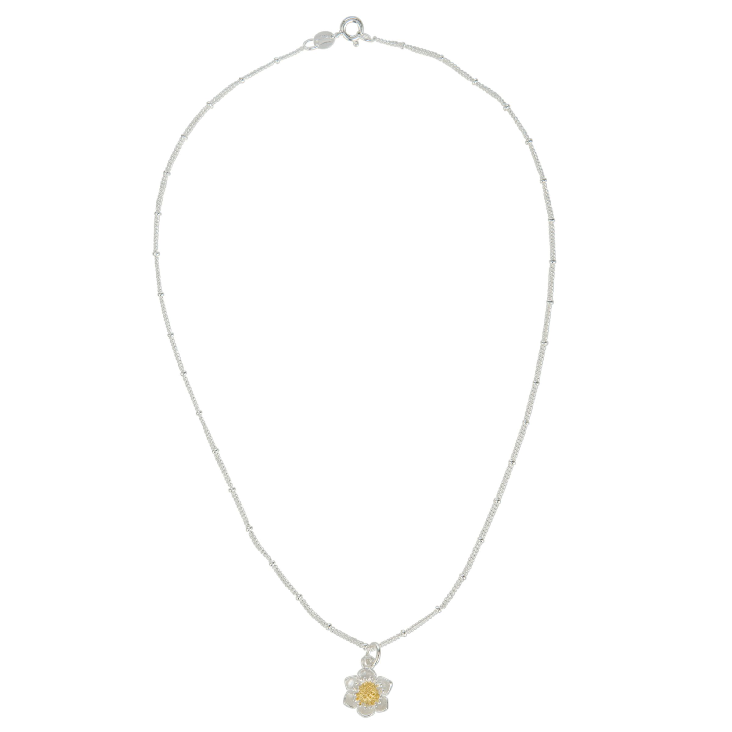 Martick Mini Gold Plated Daisy Pendent Necklace, Gold/Silver