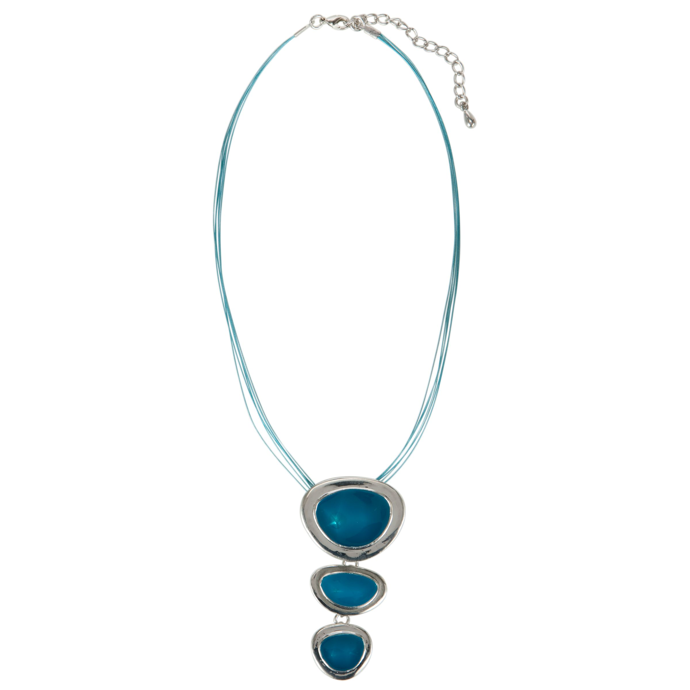 John Lewis Triple Drop Pendant Necklace, Blue