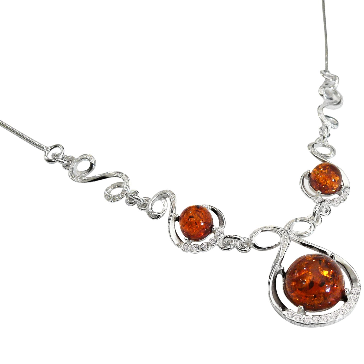 Goldmajor Amber Silver and White Cubic Zirconia Necklace