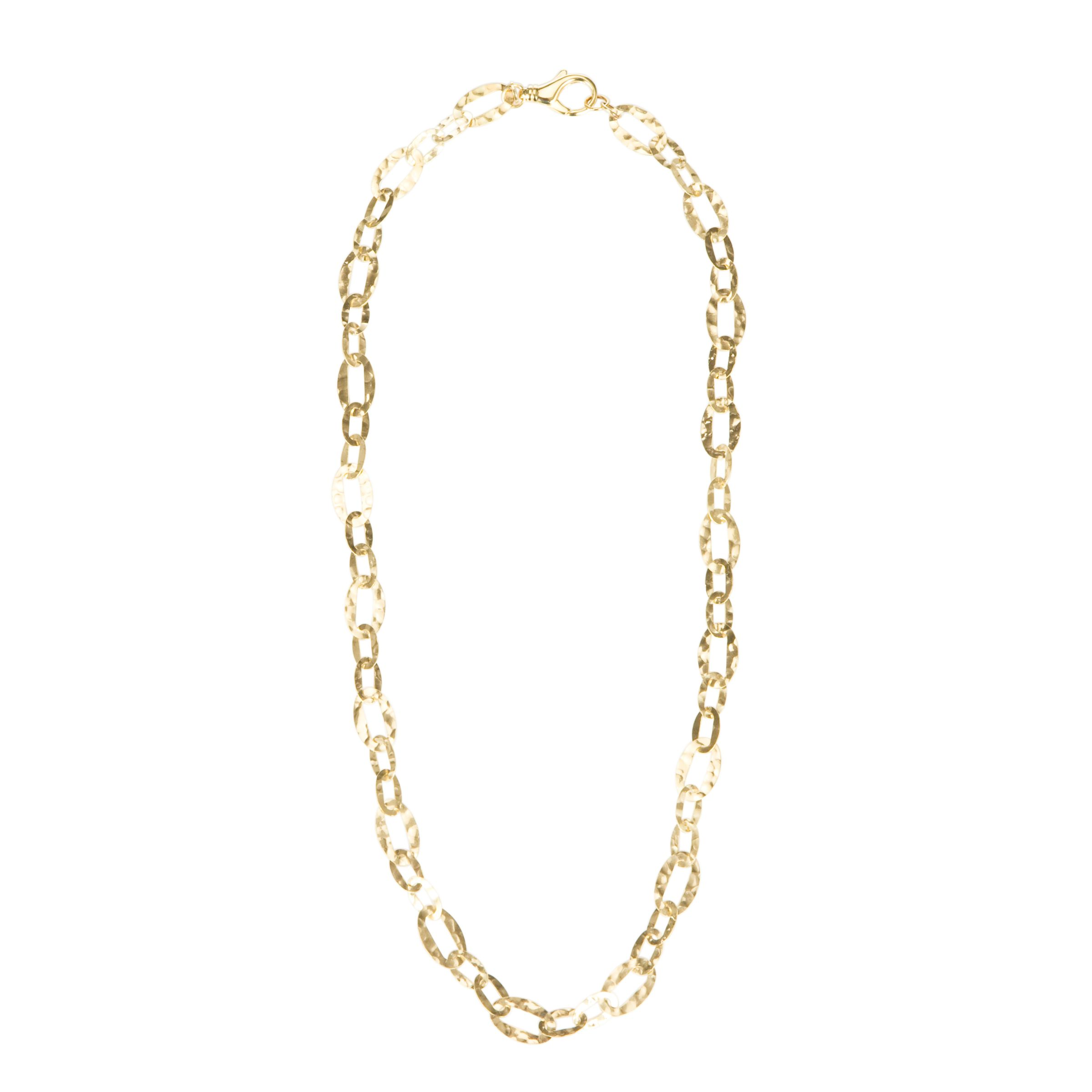 Etrusca 18ct Gold Plated Hammered Round Link Necklace