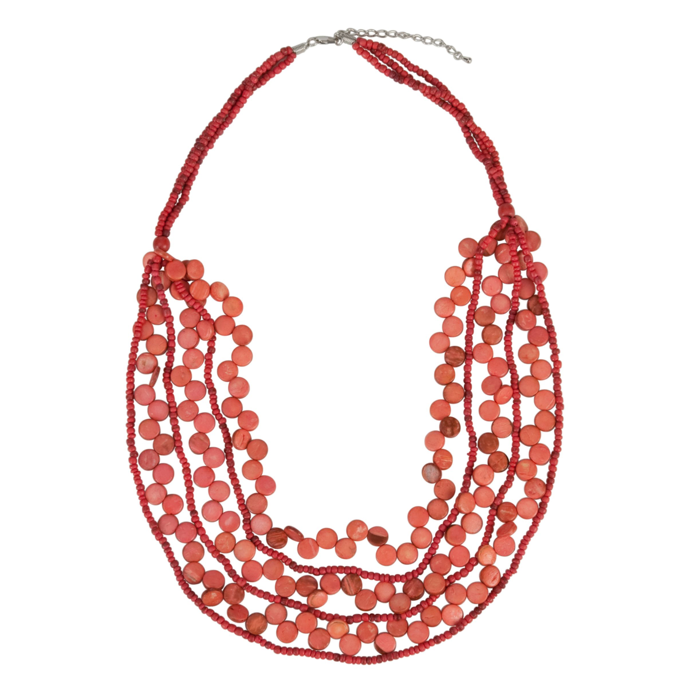 John Lewis Multi Row Wood Necklace, Pink