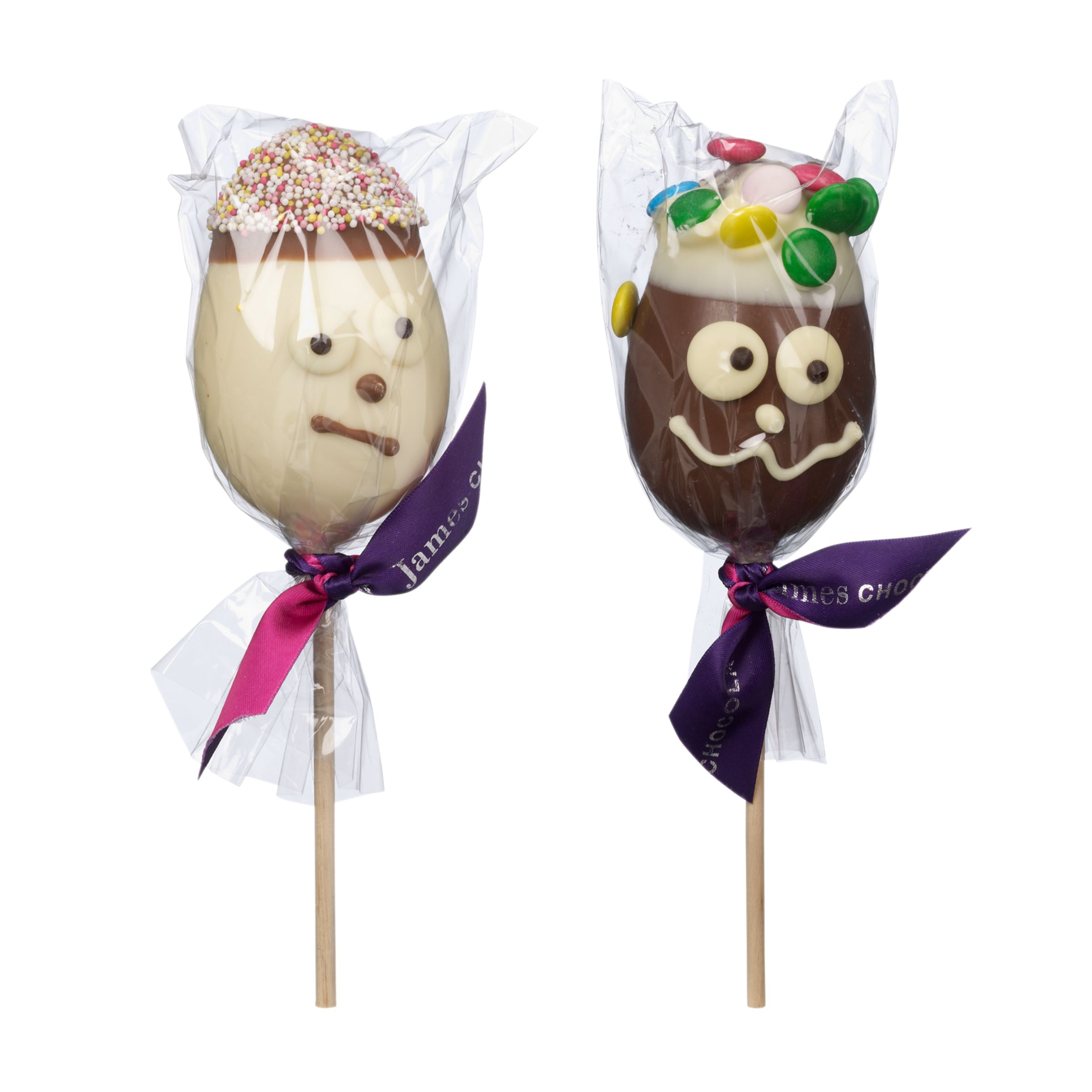 James Chocolates Face Chocolate Eggs On Sticks, 60g