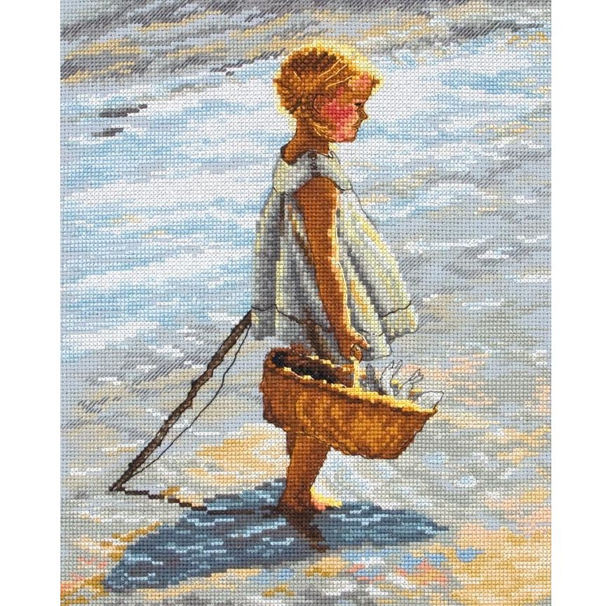 Anchor Young Girl On A Beach Cross Stitch Kit