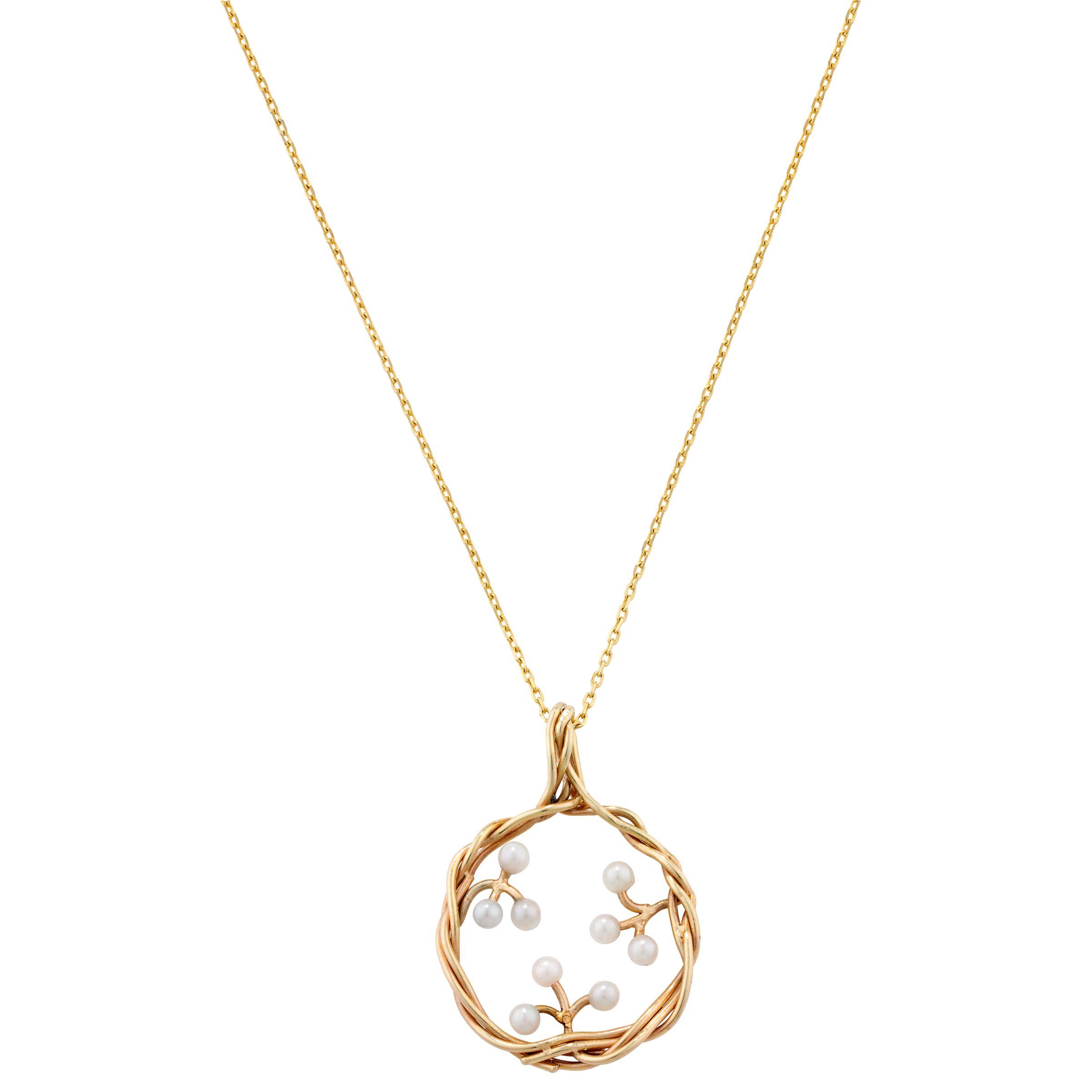 London Road Burlington 9ct Yellow Gold Willow Pearl Pendant Drop Necklace