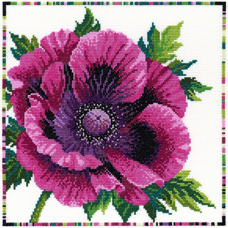 Bothy Threads Purple Poppy Cross Stitch Kit
