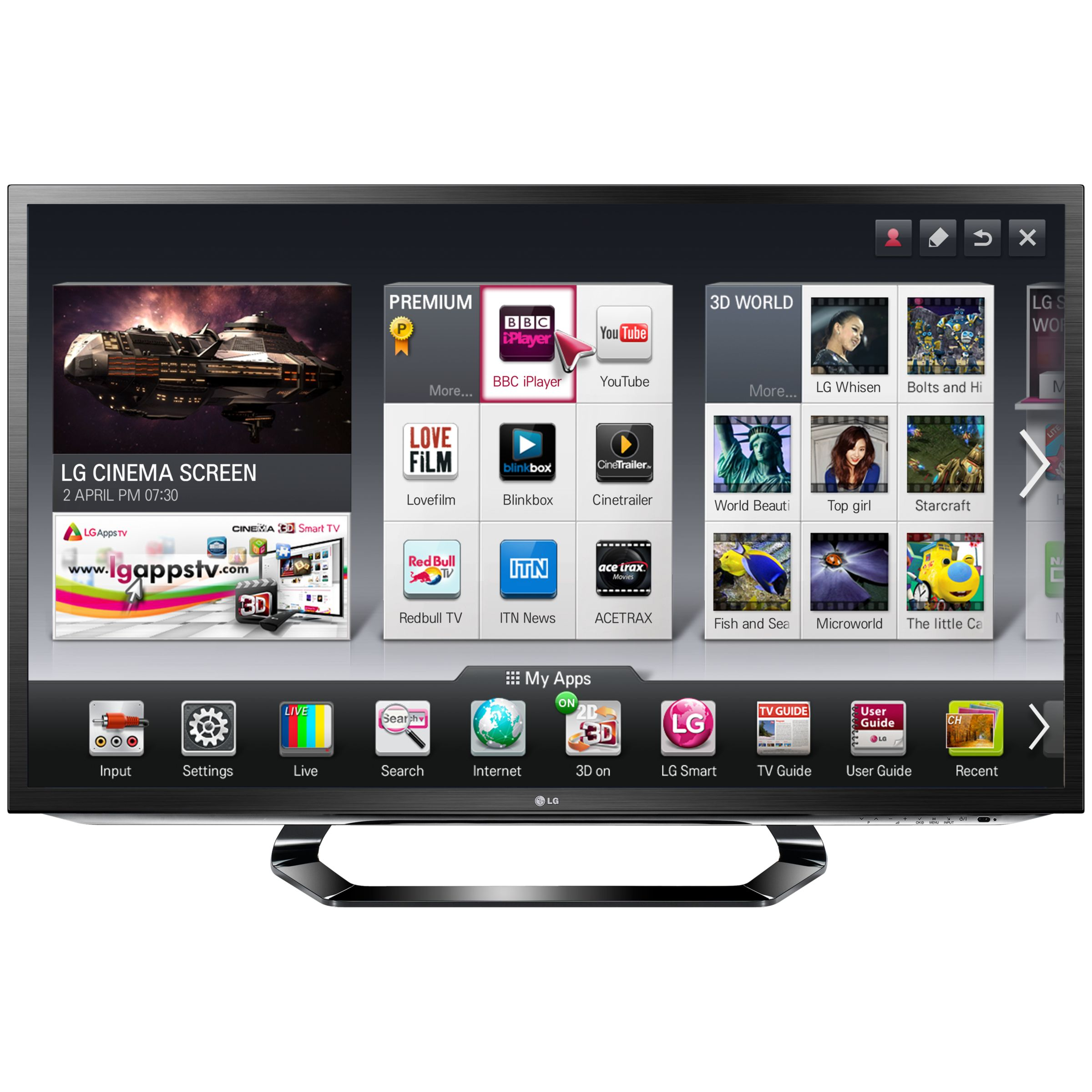 Televisions LG 37LM620T LED HD 1080p 3D Smart TV, 37 Inch with Freeview HD and 4x 3D Glasses