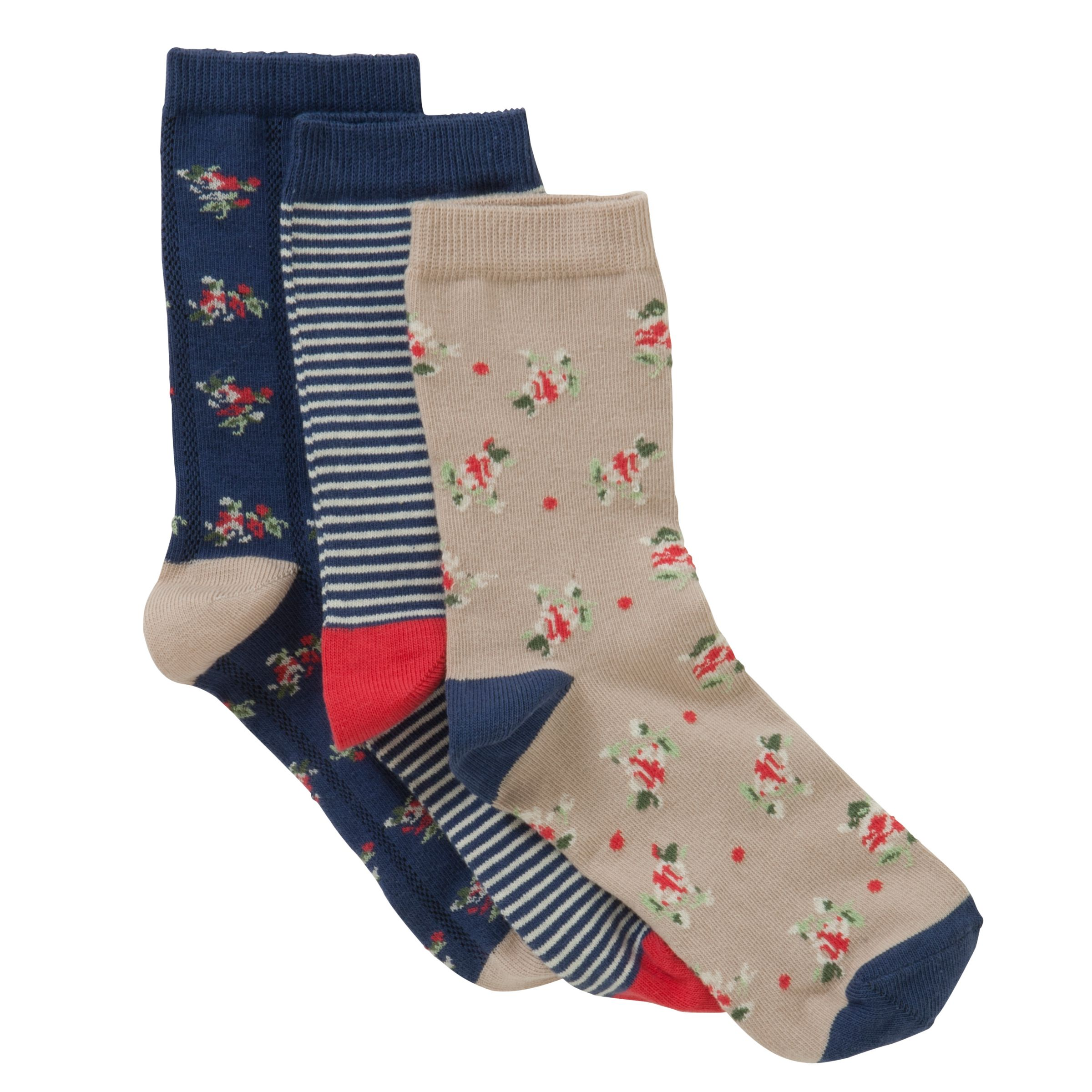 John Lewis Stripes and Floral Ankle Socks, Pack of 3, Multi