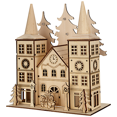 John Lewis LED Wooden Double Spire Church, Natural – £15