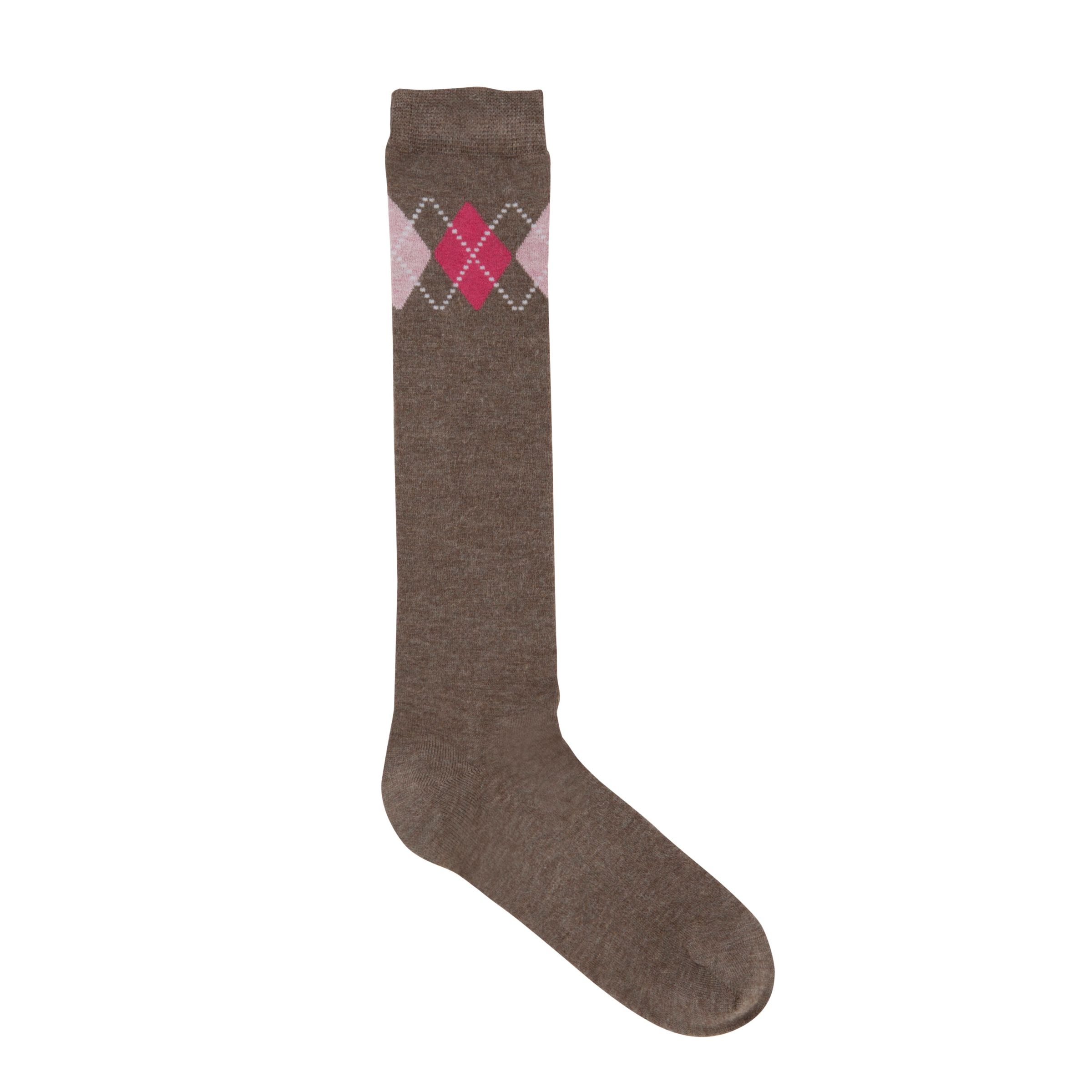 John Lewis Viscose Argyle Check Knee Socks, Brown