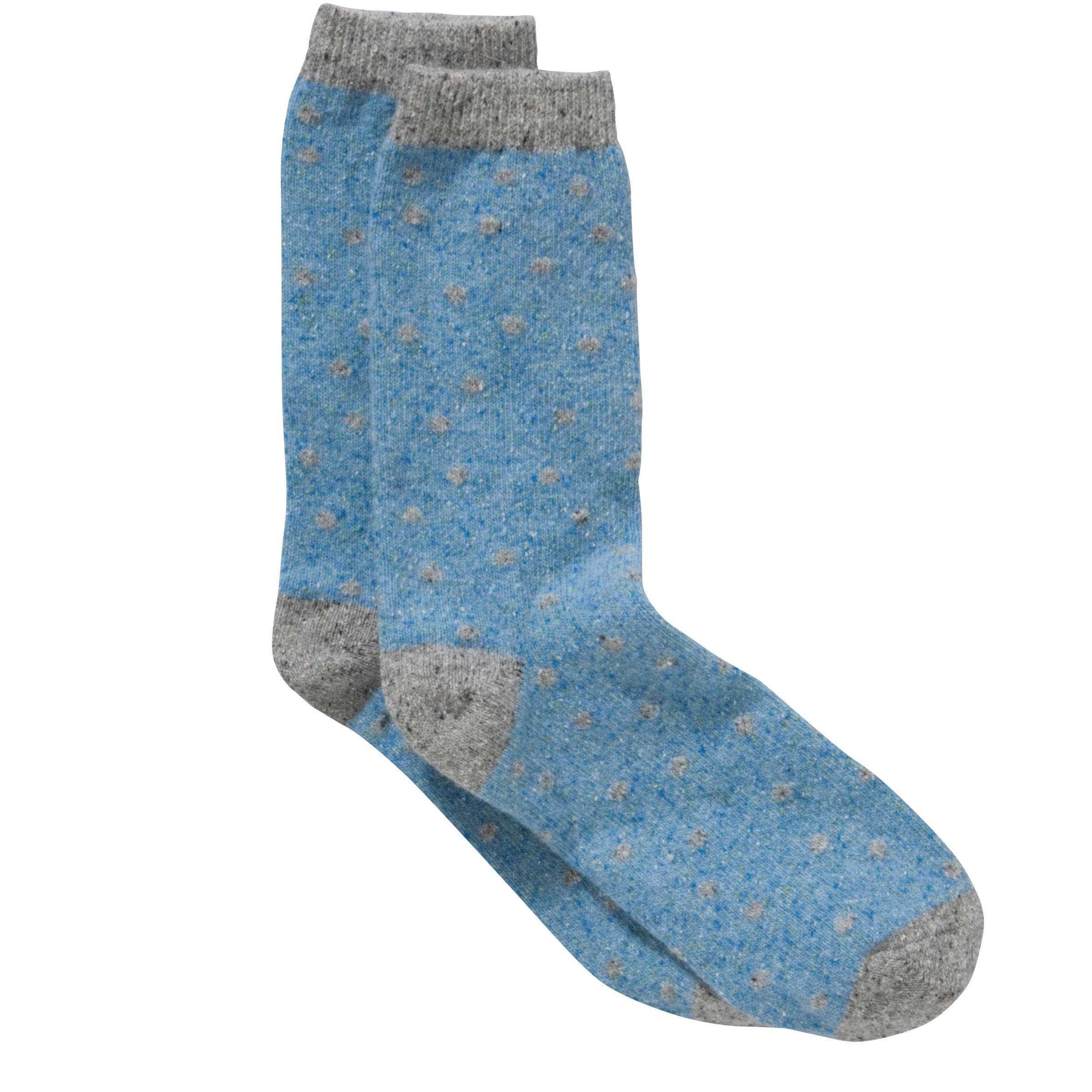 John Lewis Wool and Silk Spot Socks, Blue