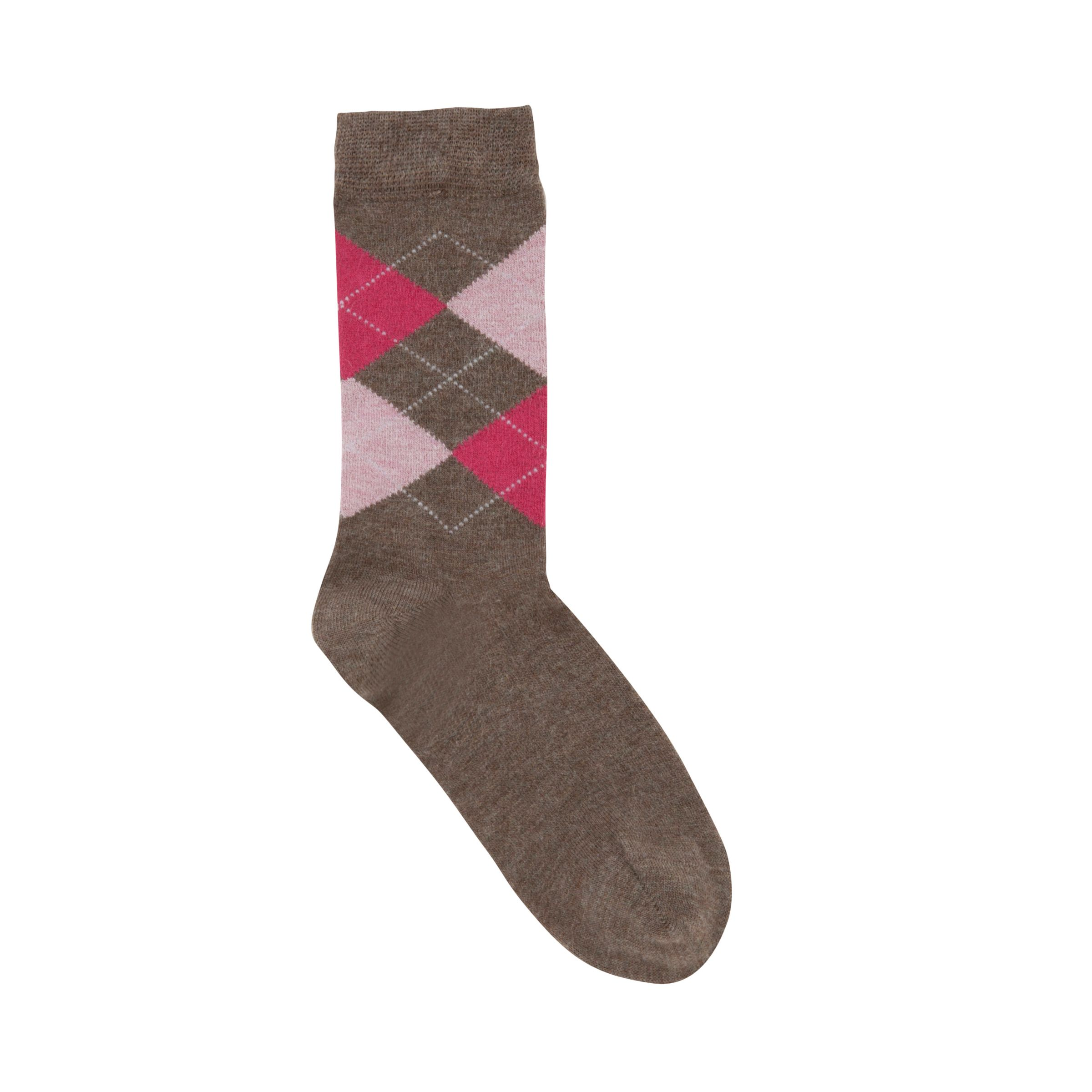 John Lewis Argyle Ankle Socks, Brown